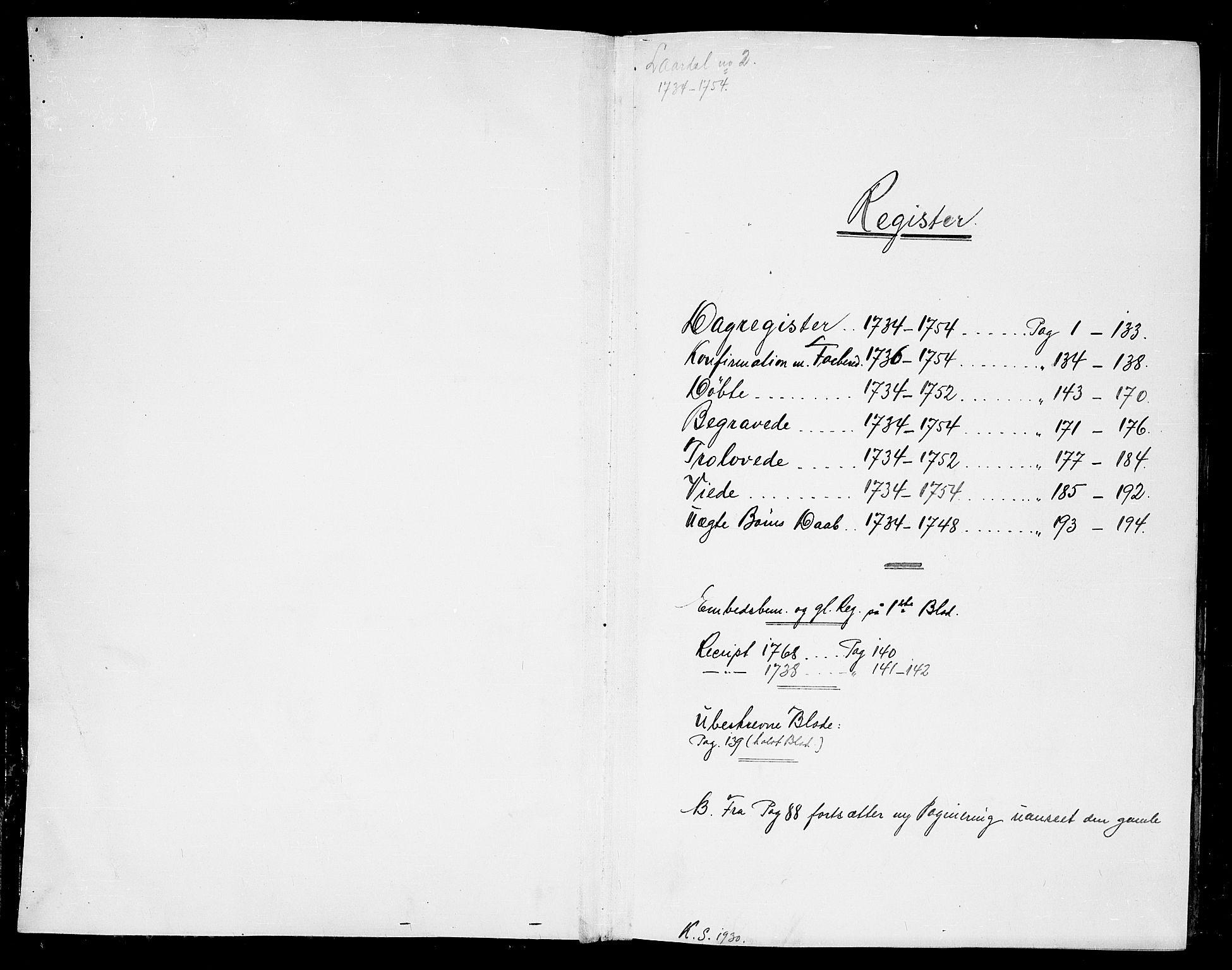 SAKO, Lårdal kirkebøker, F/Fa/L0002: Ministerialbok nr. I 2, 1734-1754