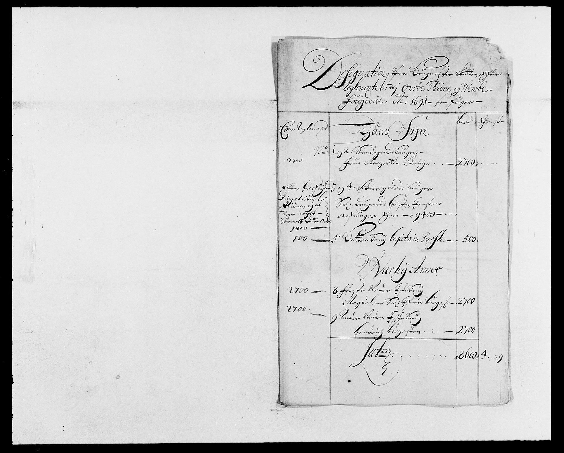 RA, Rentekammeret inntil 1814, Reviderte regnskaper, Fogderegnskap, R03/L0119: Fogderegnskap Onsøy, Tune, Veme og Åbygge fogderi, 1690-1691, s. 397