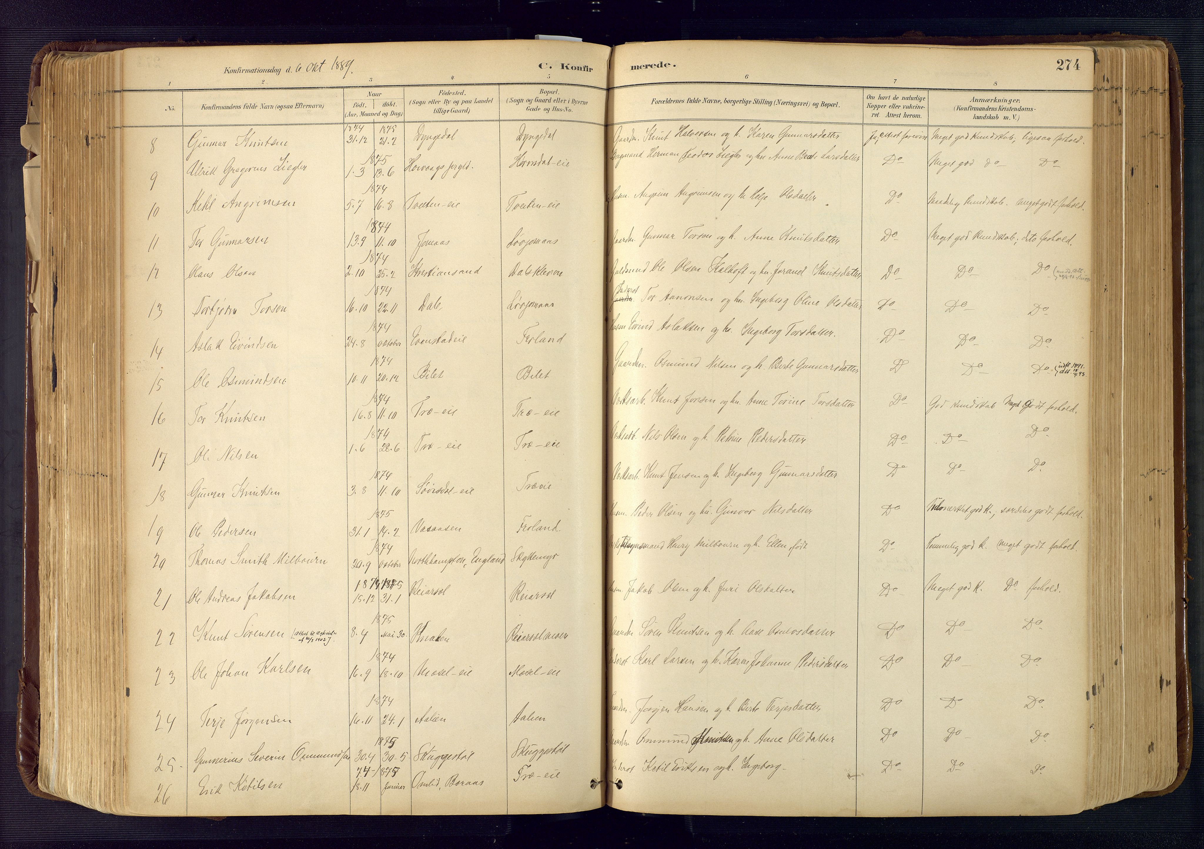 SAK, Froland sokneprestkontor, F/Fa/L0005: Ministerialbok nr. A 5, 1882-1921, s. 274