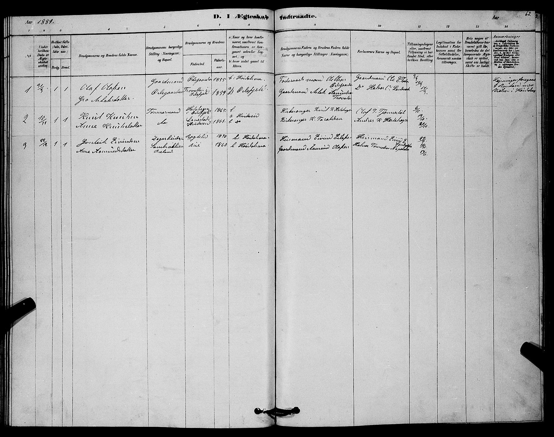 SAKO, Lårdal kirkebøker, G/Gc/L0003: Klokkerbok nr. III 3, 1878-1890, s. 62