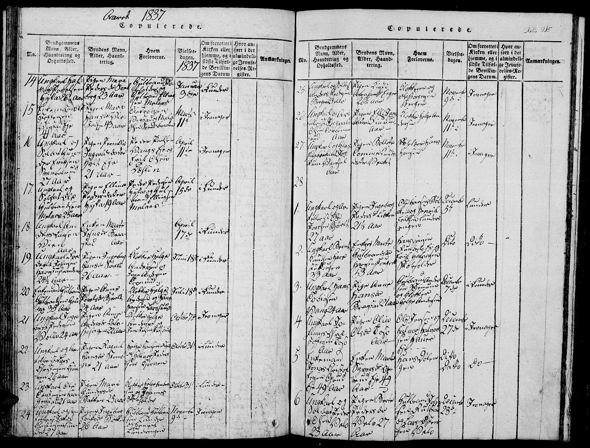 SAH, Jevnaker prestekontor, Klokkerbok nr. 1, 1815-1837, s. 215