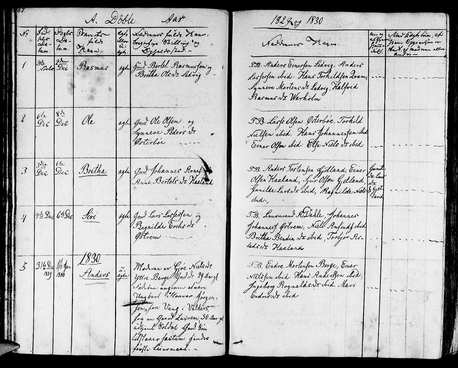 SAB, Lavik sokneprestembete, Ministerialbok nr. A 2I, 1821-1842, s. 67
