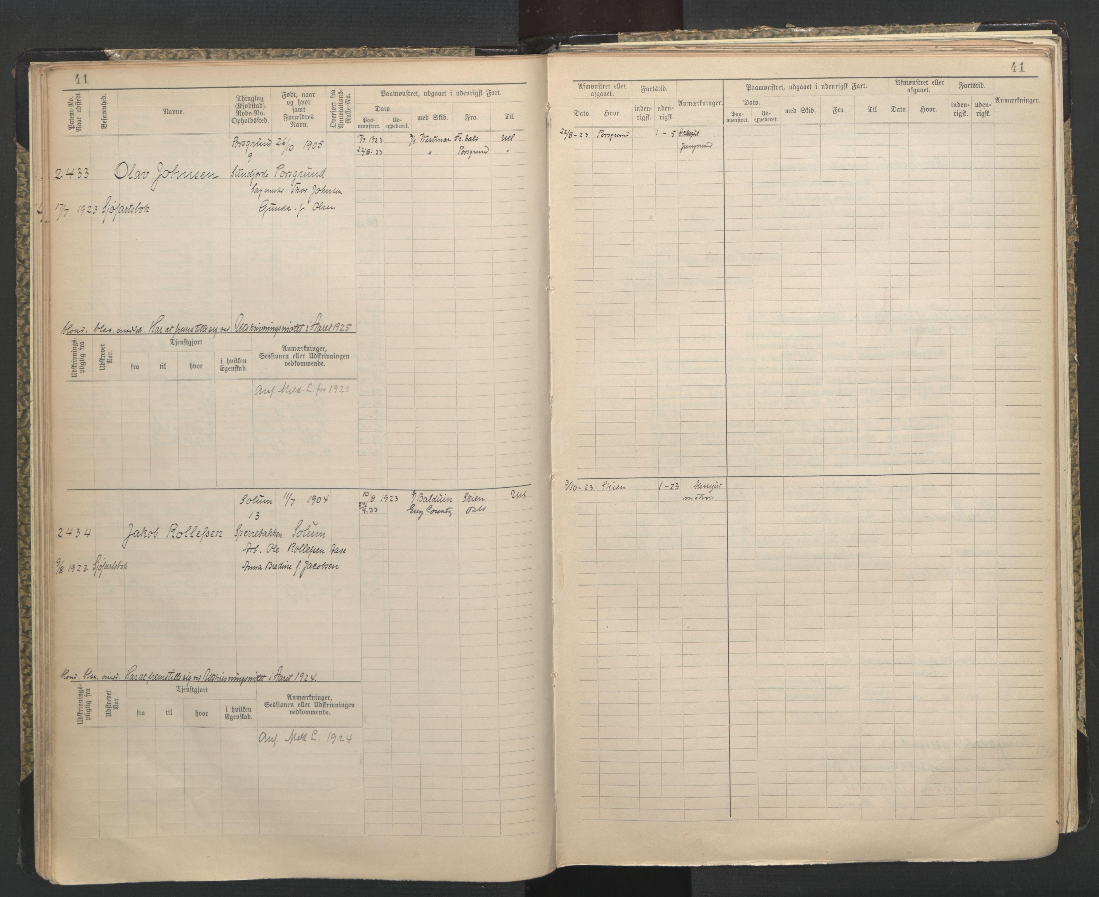 SAKO, Porsgrunn innrulleringskontor, F/Fc/L0009: Hovedrulle, 1920-1948, s. 41