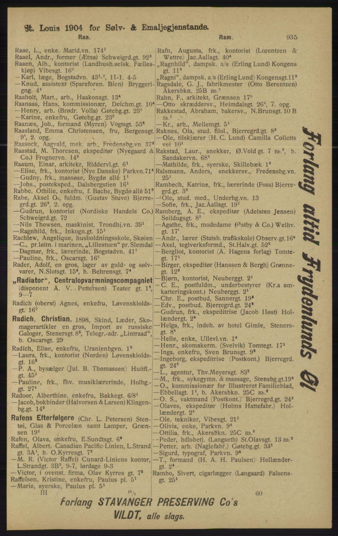 RA, Kristiania adressebok (publikasjon)*, 1913, s. 935