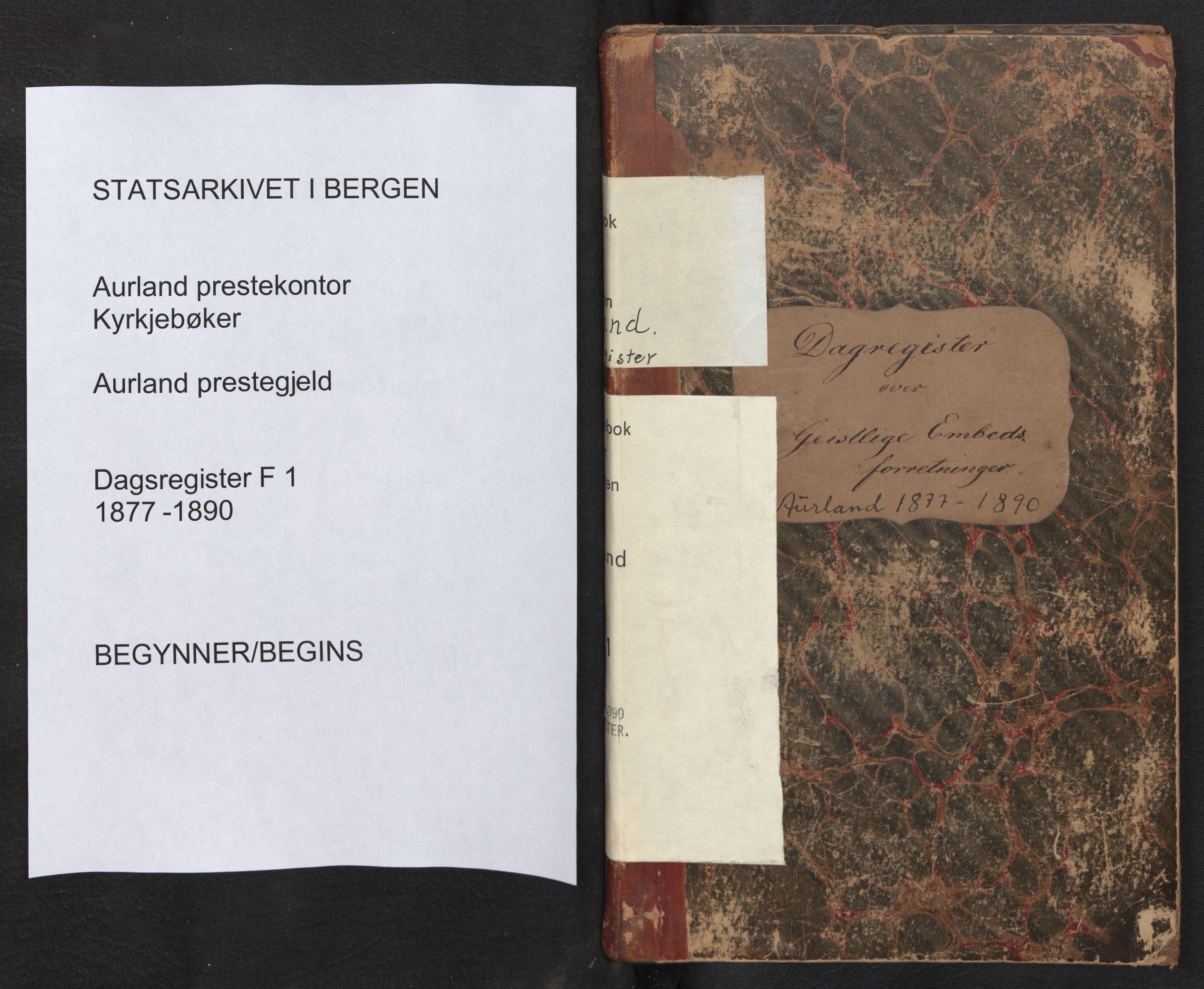 SAB, Aurland Sokneprestembete*, Dagregister nr. F 1, 1877-1890