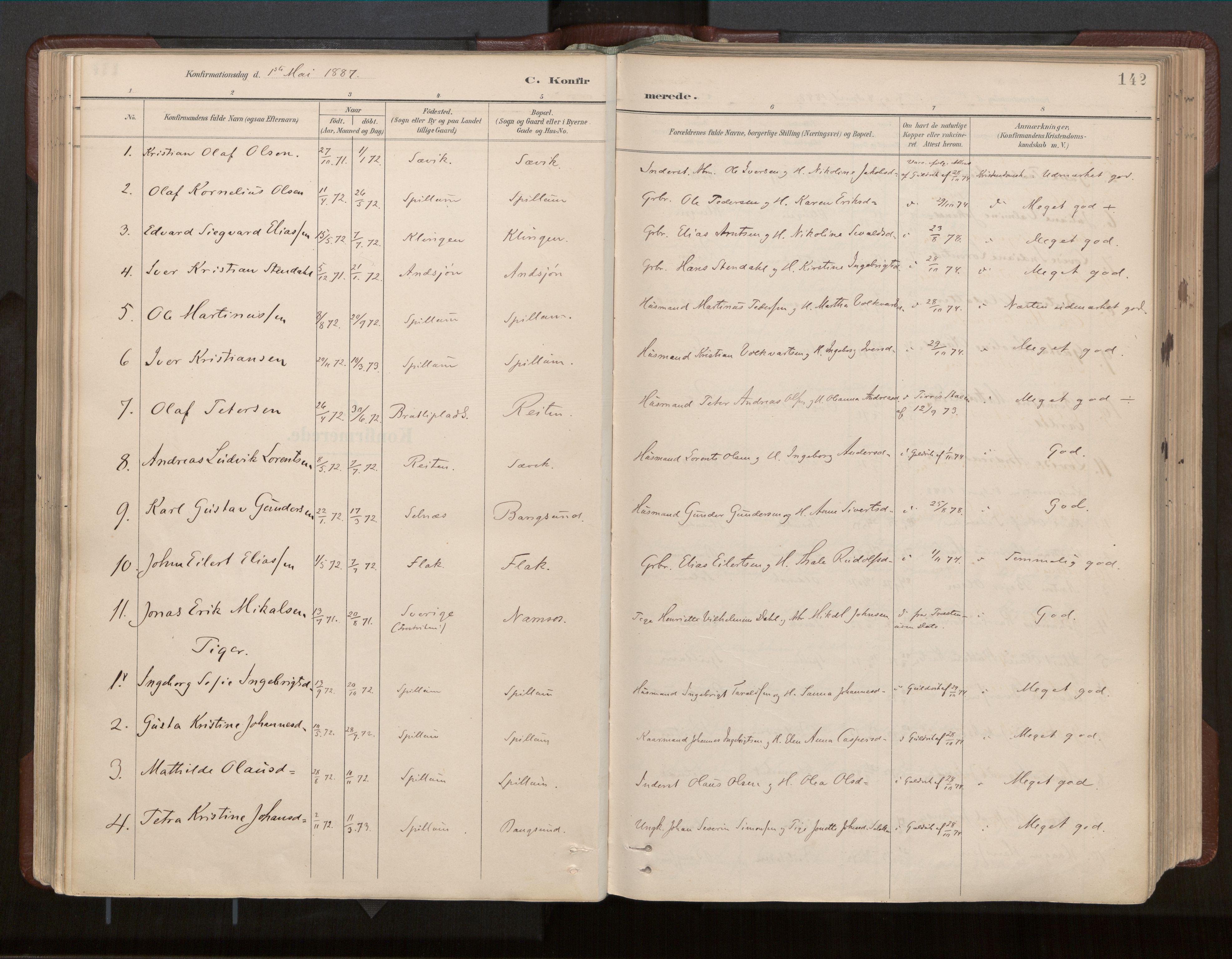 SAT, Ministerialprotokoller, klokkerbøker og fødselsregistre - Nord-Trøndelag, 770/L0589: Ministerialbok nr. 770A03, 1887-1929, s. 142