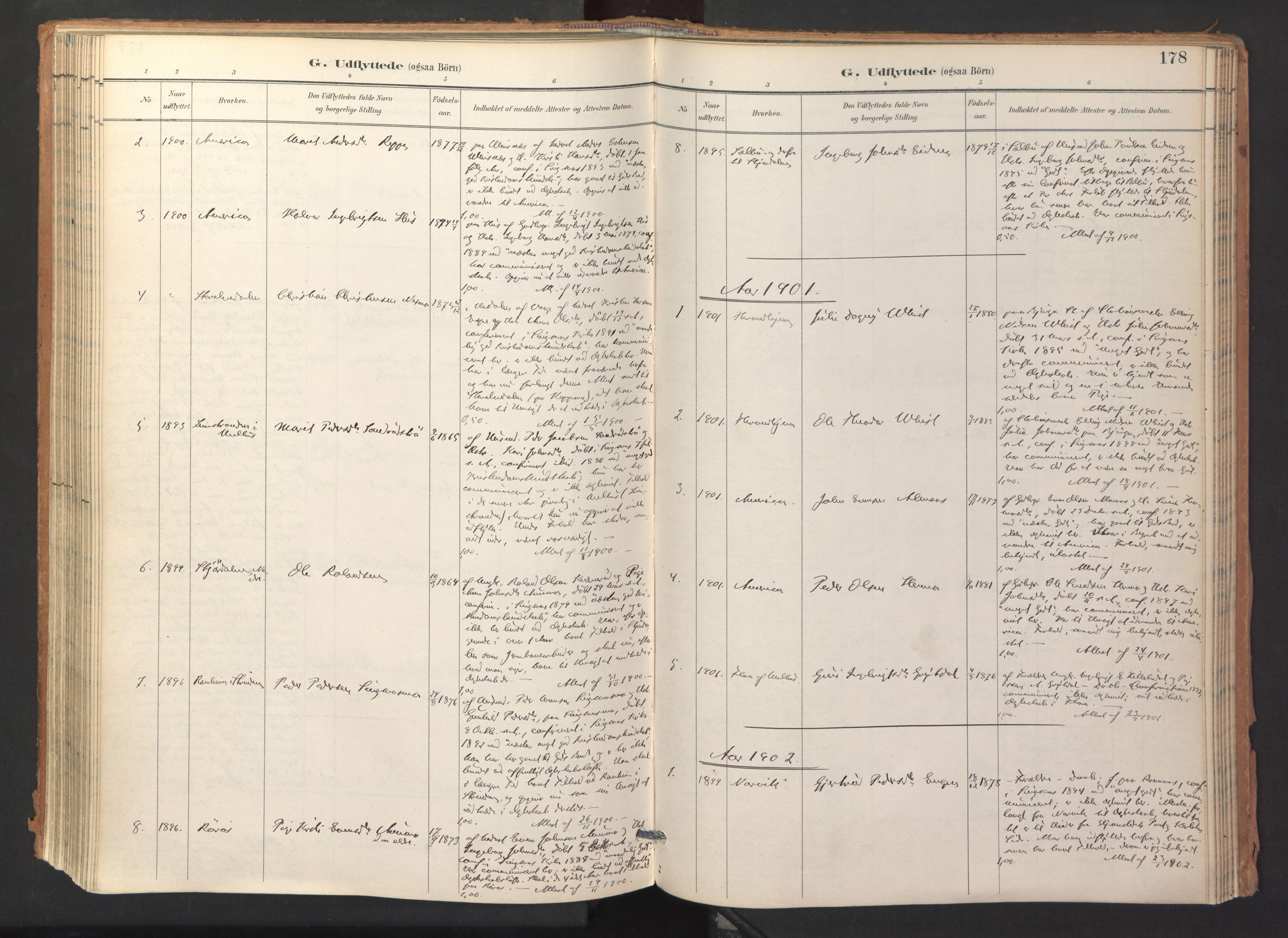 SAT, Ministerialprotokoller, klokkerbøker og fødselsregistre - Sør-Trøndelag, 688/L1025: Ministerialbok nr. 688A02, 1891-1909, s. 178