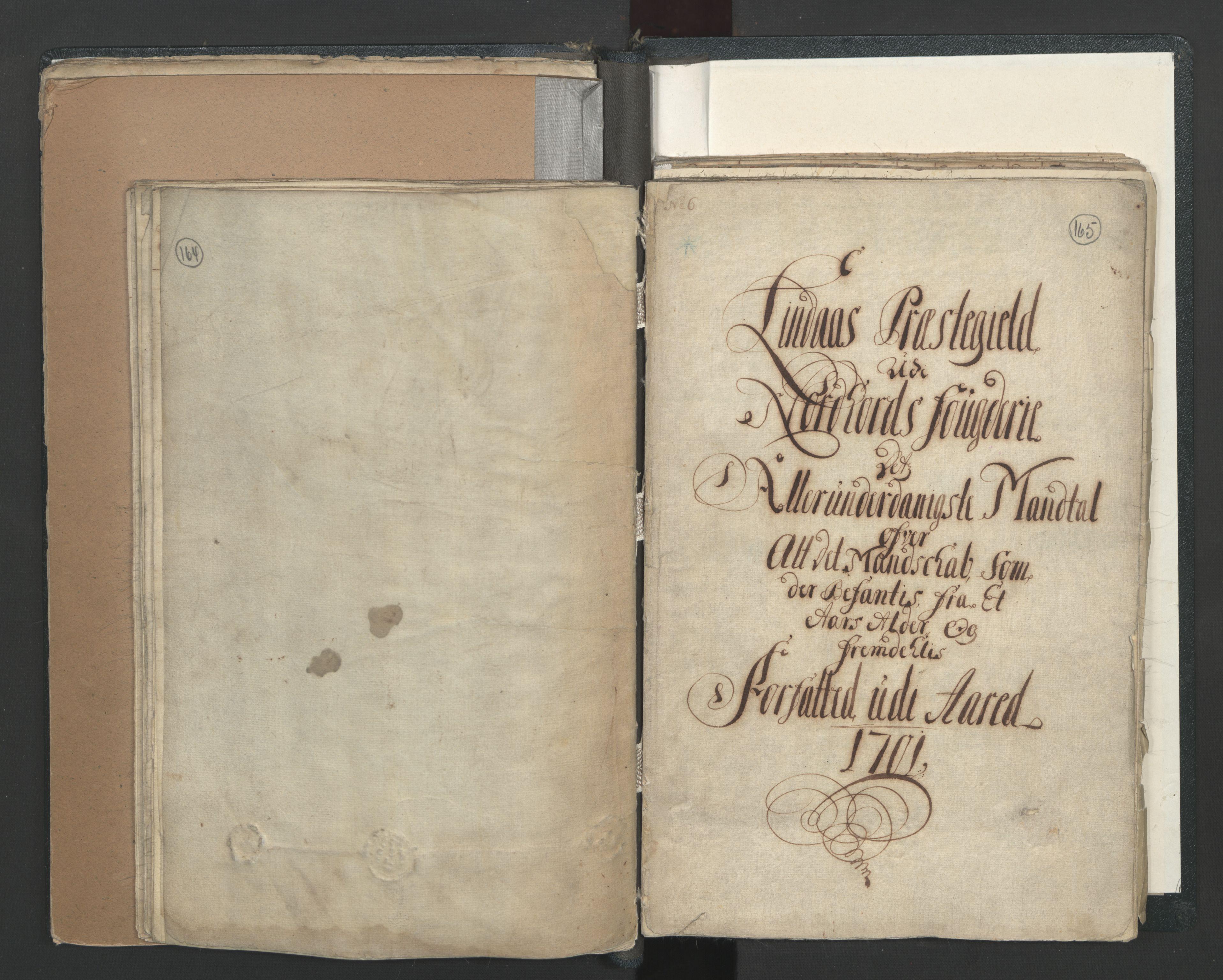 RA, Manntallet 1701, nr. 7: Nordhordland og Voss fogderi, 1701, s. 164-165