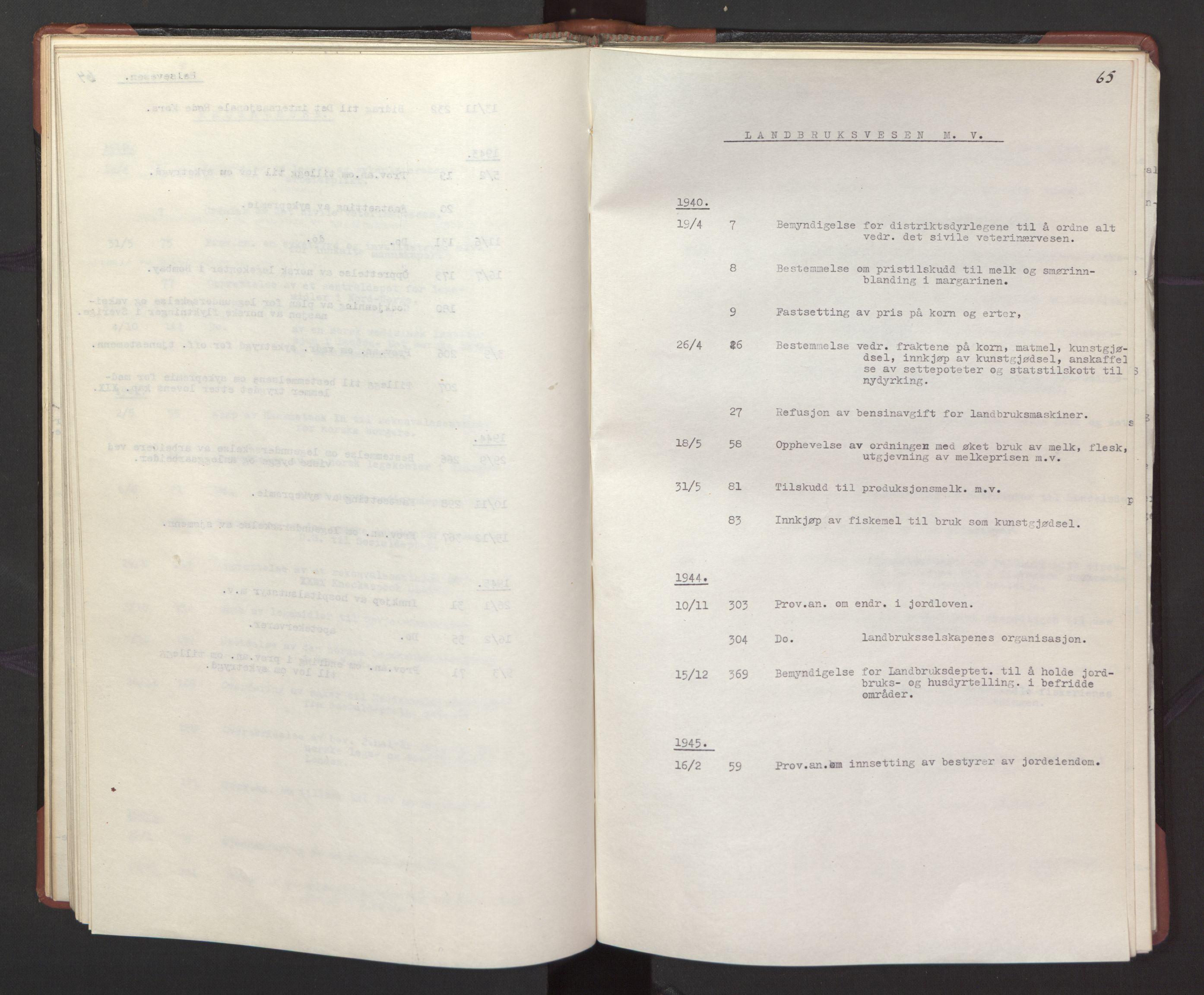 RA, Statsrådssekretariatet, A/Ac/L0127: Register 9/4-25/5, 1940-1945, s. 65