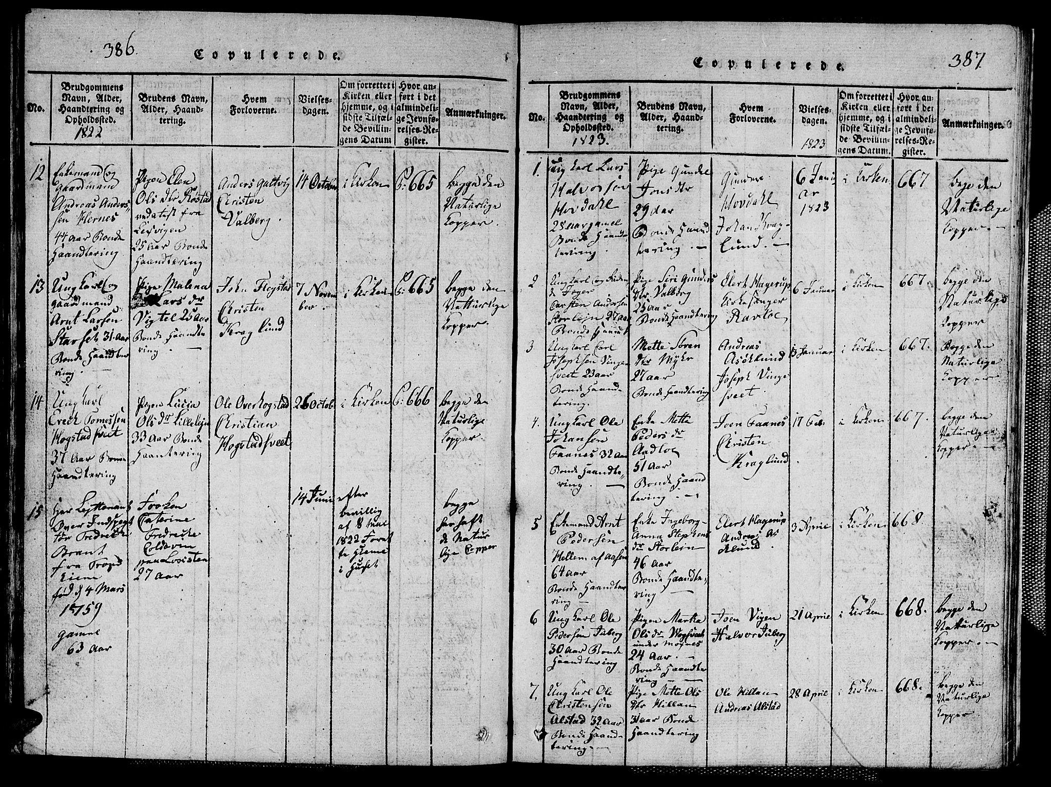 SAT, Ministerialprotokoller, klokkerbøker og fødselsregistre - Nord-Trøndelag, 713/L0124: Klokkerbok nr. 713C01, 1817-1827, s. 386-387