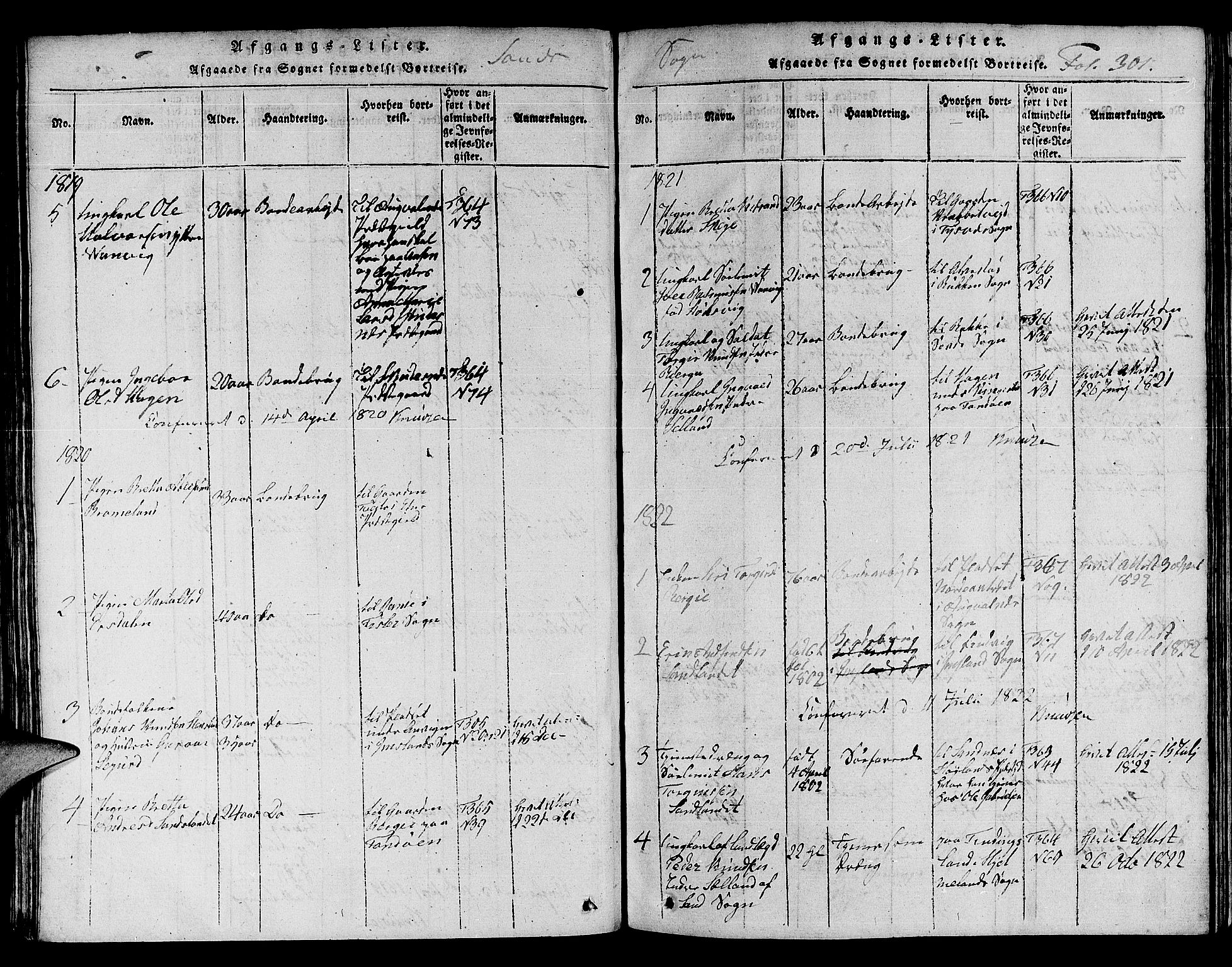 SAST, Jelsa sokneprestkontor, V: Klokkerbok nr. B 1 /2, 1816-1828, s. 301