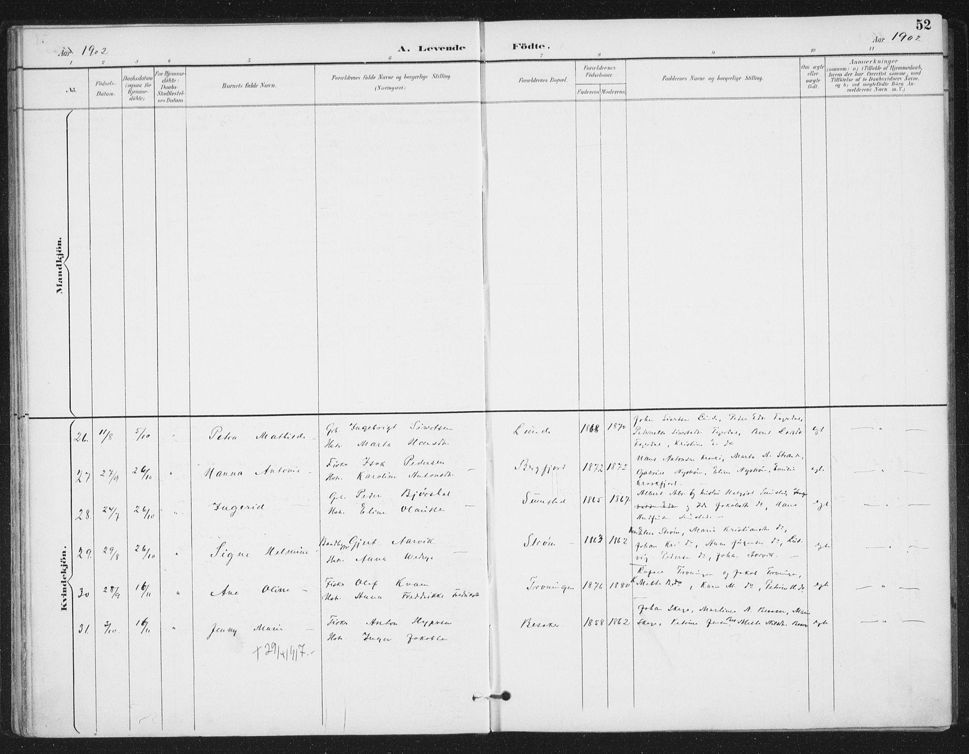 SAT, Ministerialprotokoller, klokkerbøker og fødselsregistre - Sør-Trøndelag, 657/L0708: Ministerialbok nr. 657A09, 1894-1904, s. 52