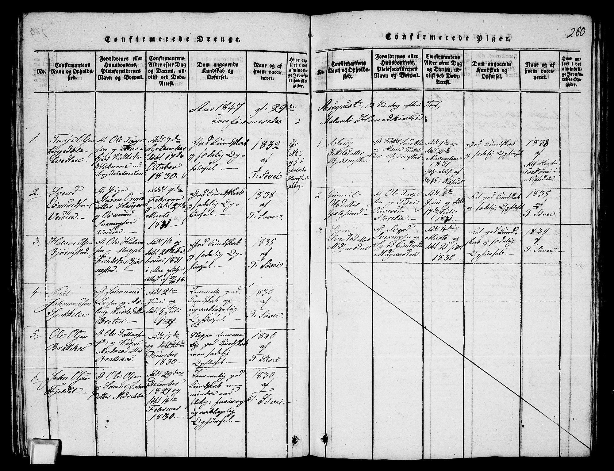 SAKO, Fyresdal kirkebøker, G/Ga/L0003: Klokkerbok nr. I 3, 1815-1863, s. 260
