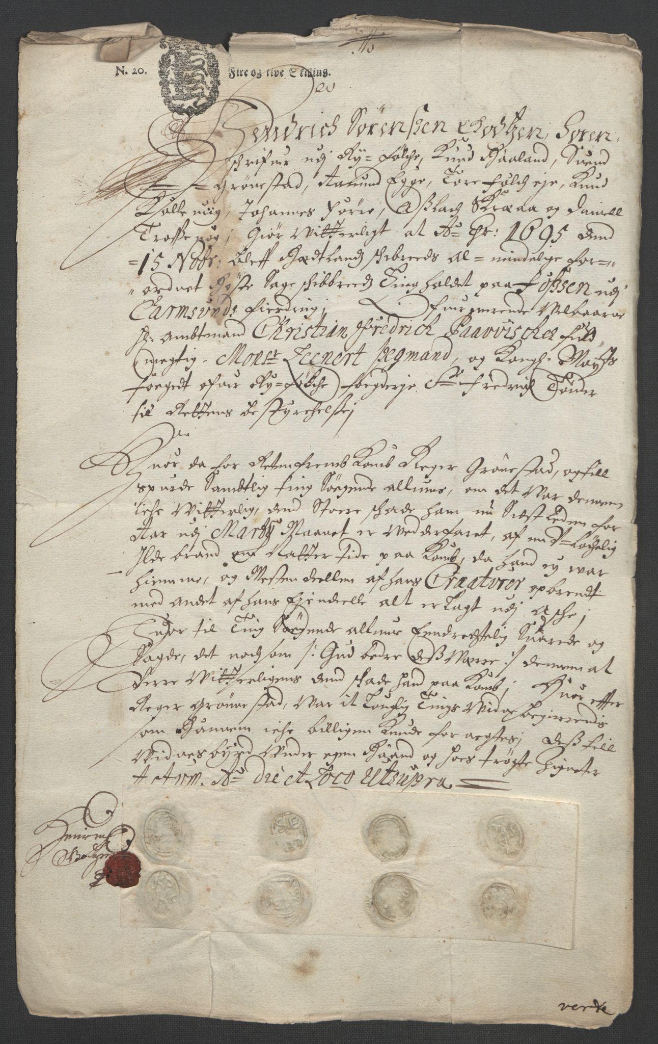 RA, Rentekammeret inntil 1814, Reviderte regnskaper, Fogderegnskap, R47/L2857: Fogderegnskap Ryfylke, 1694-1696, s. 197