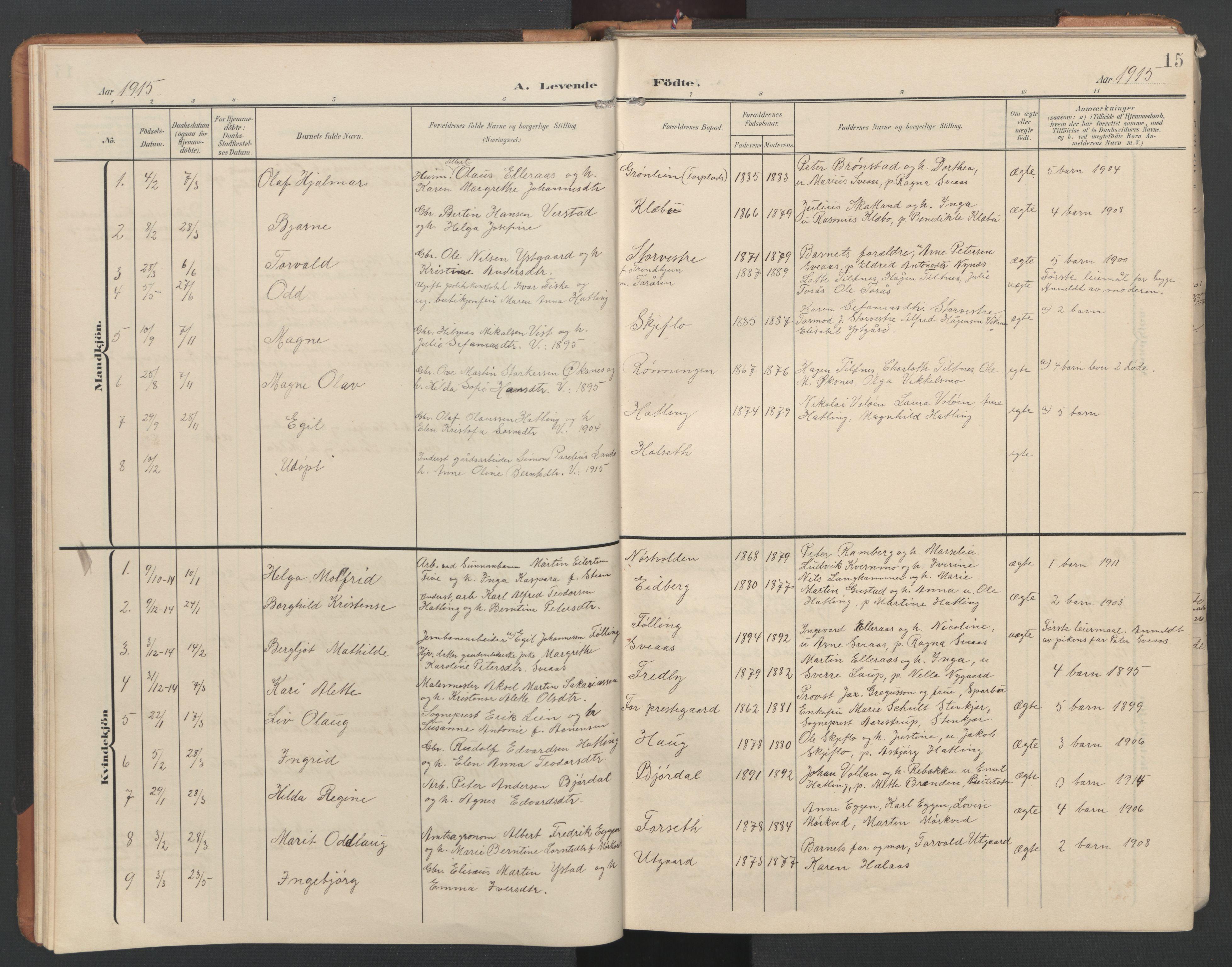 SAT, Ministerialprotokoller, klokkerbøker og fødselsregistre - Nord-Trøndelag, 746/L0455: Klokkerbok nr. 746C01, 1908-1933, s. 15