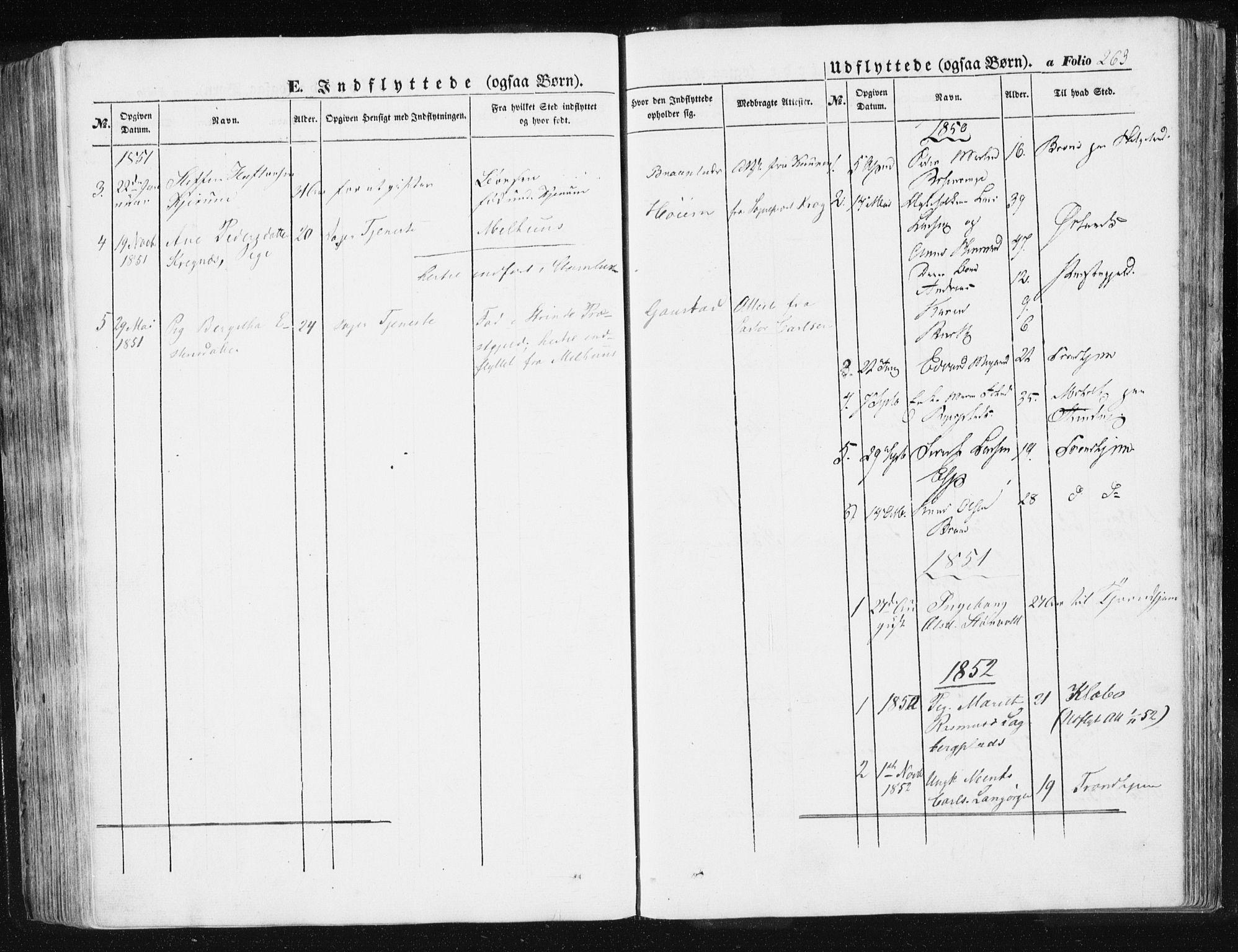 SAT, Ministerialprotokoller, klokkerbøker og fødselsregistre - Sør-Trøndelag, 612/L0376: Ministerialbok nr. 612A08, 1846-1859, s. 263