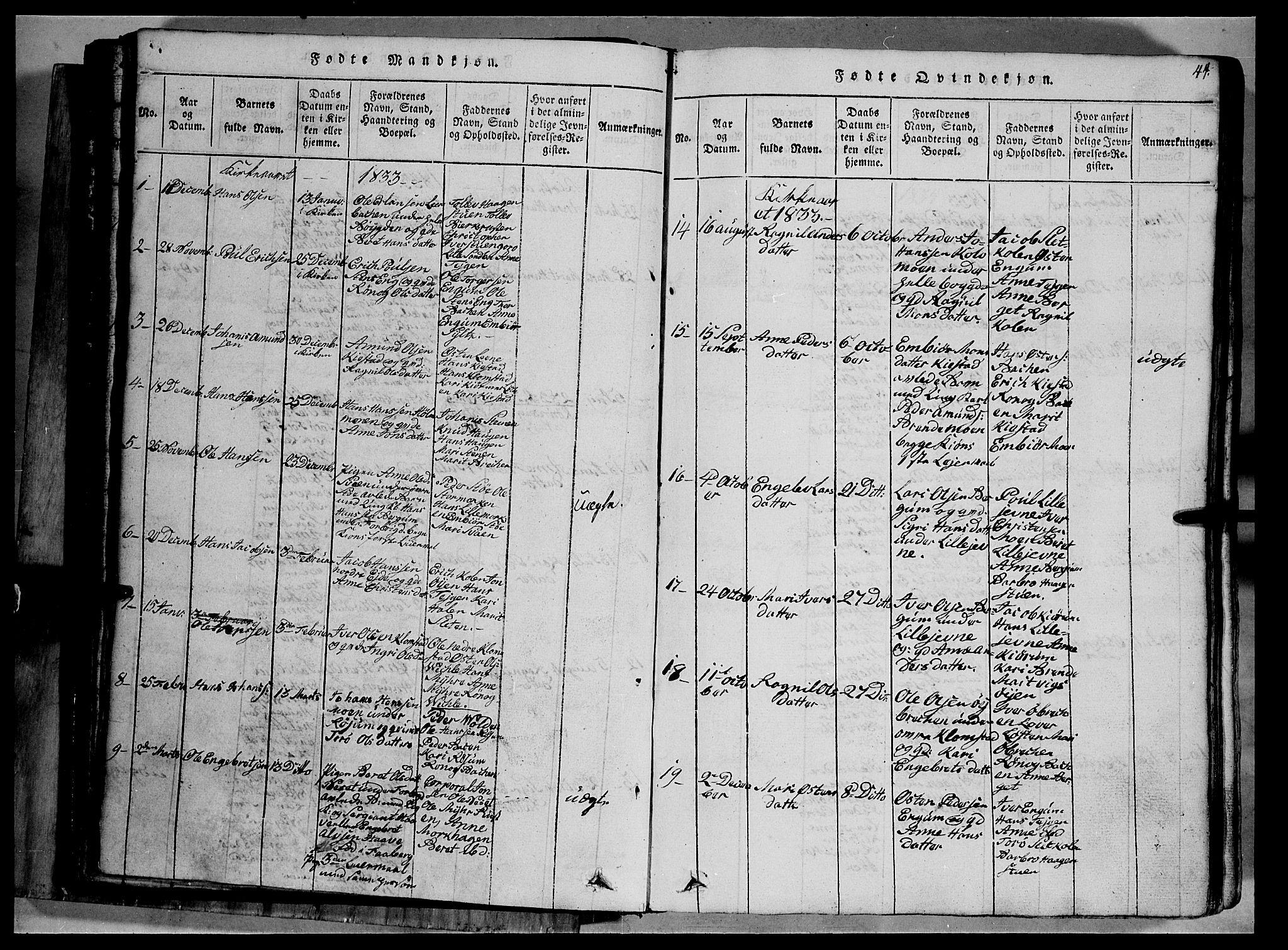 SAH, Fron prestekontor, H/Ha/Hab/L0002: Klokkerbok nr. 2, 1816-1850, s. 44