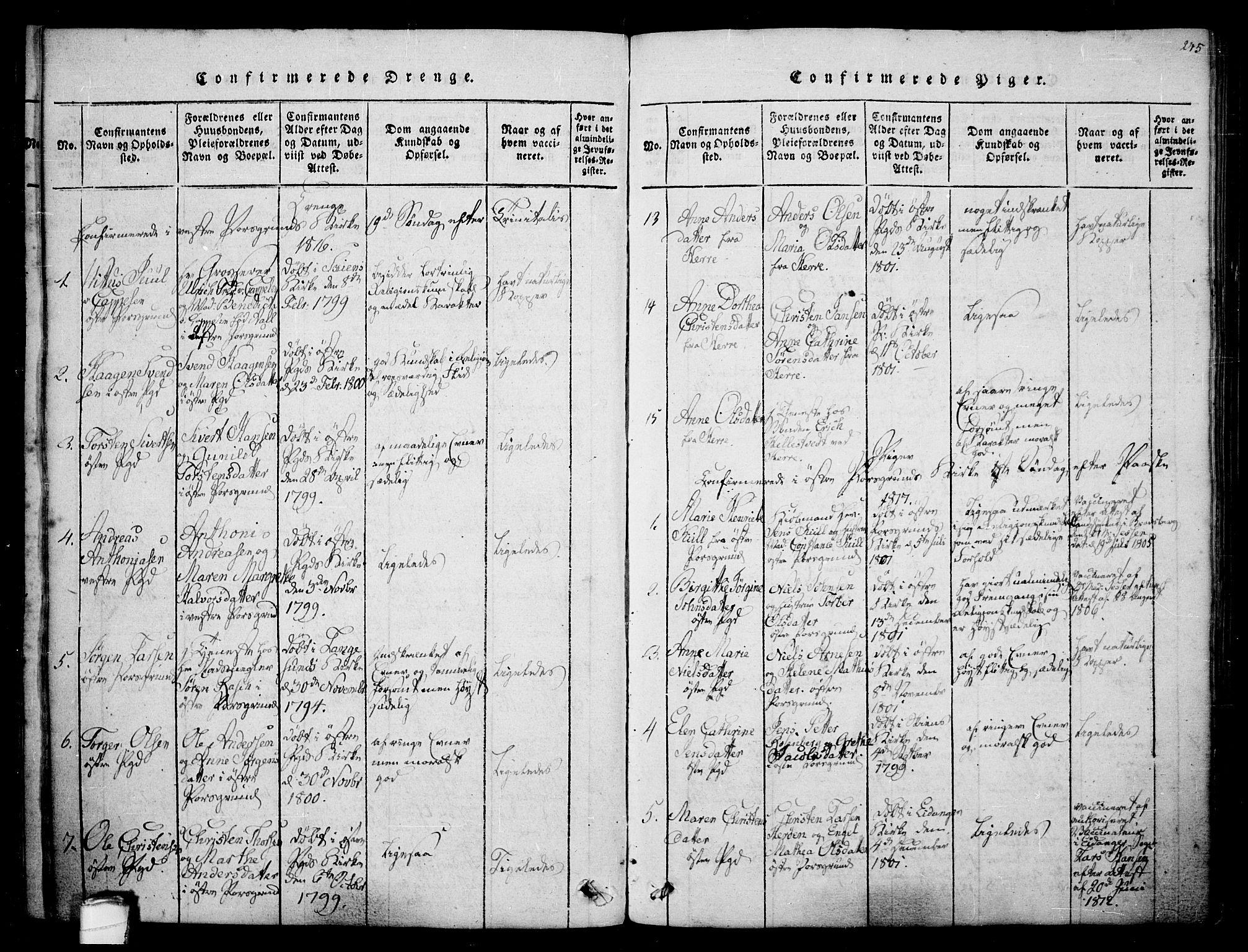SAKO, Porsgrunn kirkebøker , F/Fa/L0004: Ministerialbok nr. 4, 1814-1828, s. 245