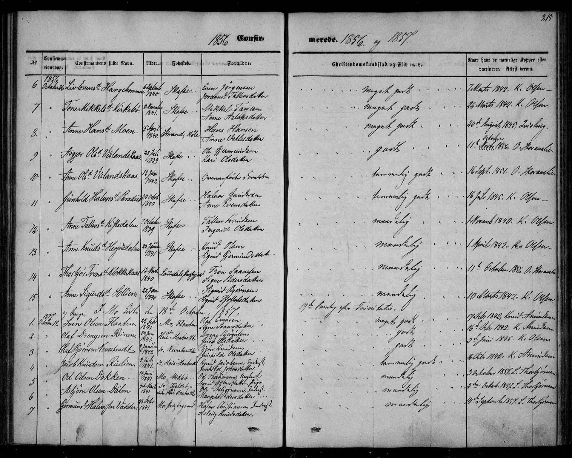 SAKO, Mo kirkebøker, F/Fa/L0005: Ministerialbok nr. I 5, 1844-1864, s. 215
