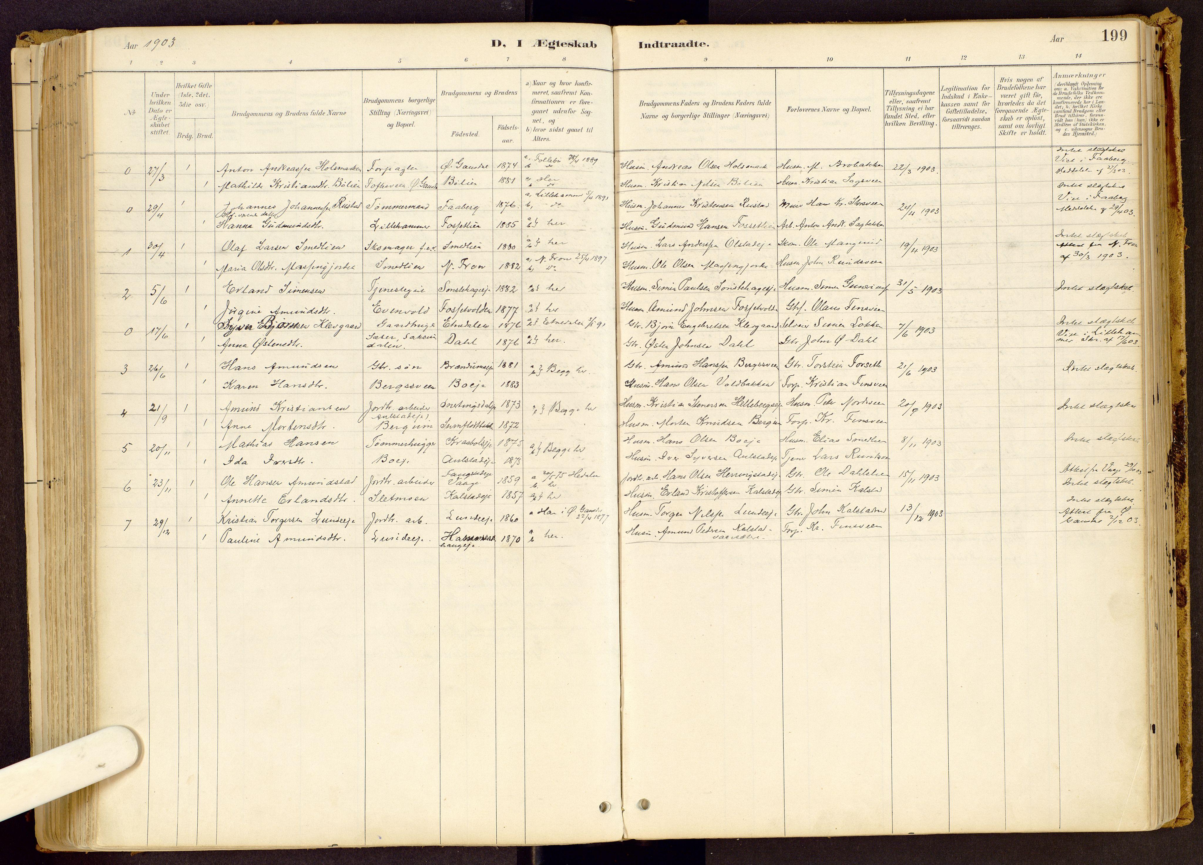 SAH, Vestre Gausdal prestekontor, Ministerialbok nr. 1, 1887-1914, s. 199