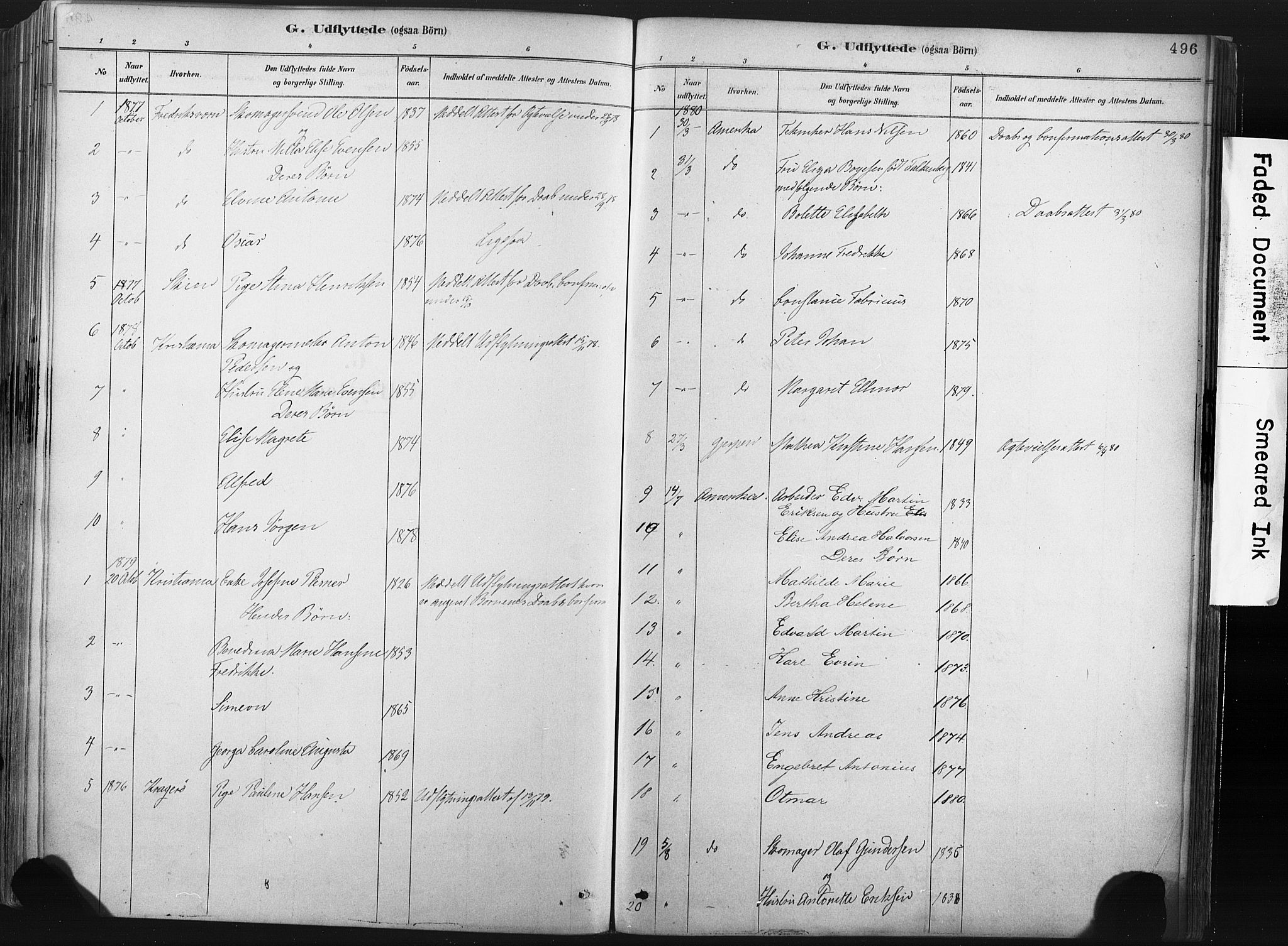 SAKO, Porsgrunn kirkebøker , F/Fa/L0008: Ministerialbok nr. 8, 1878-1895, s. 496