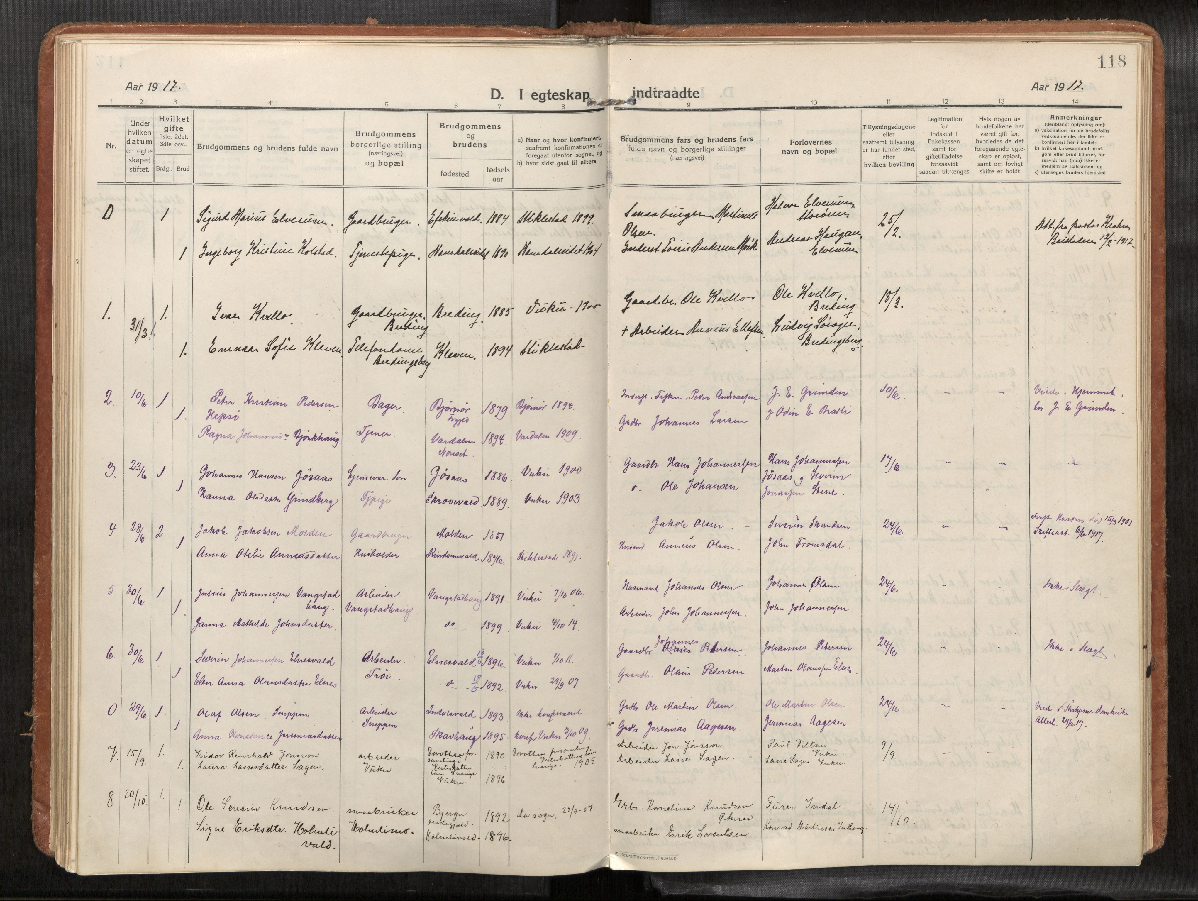 SAT, Verdal sokneprestkontor, H/Haa/L0004: Ministerialbok nr. 4, 1916-1928, s. 118
