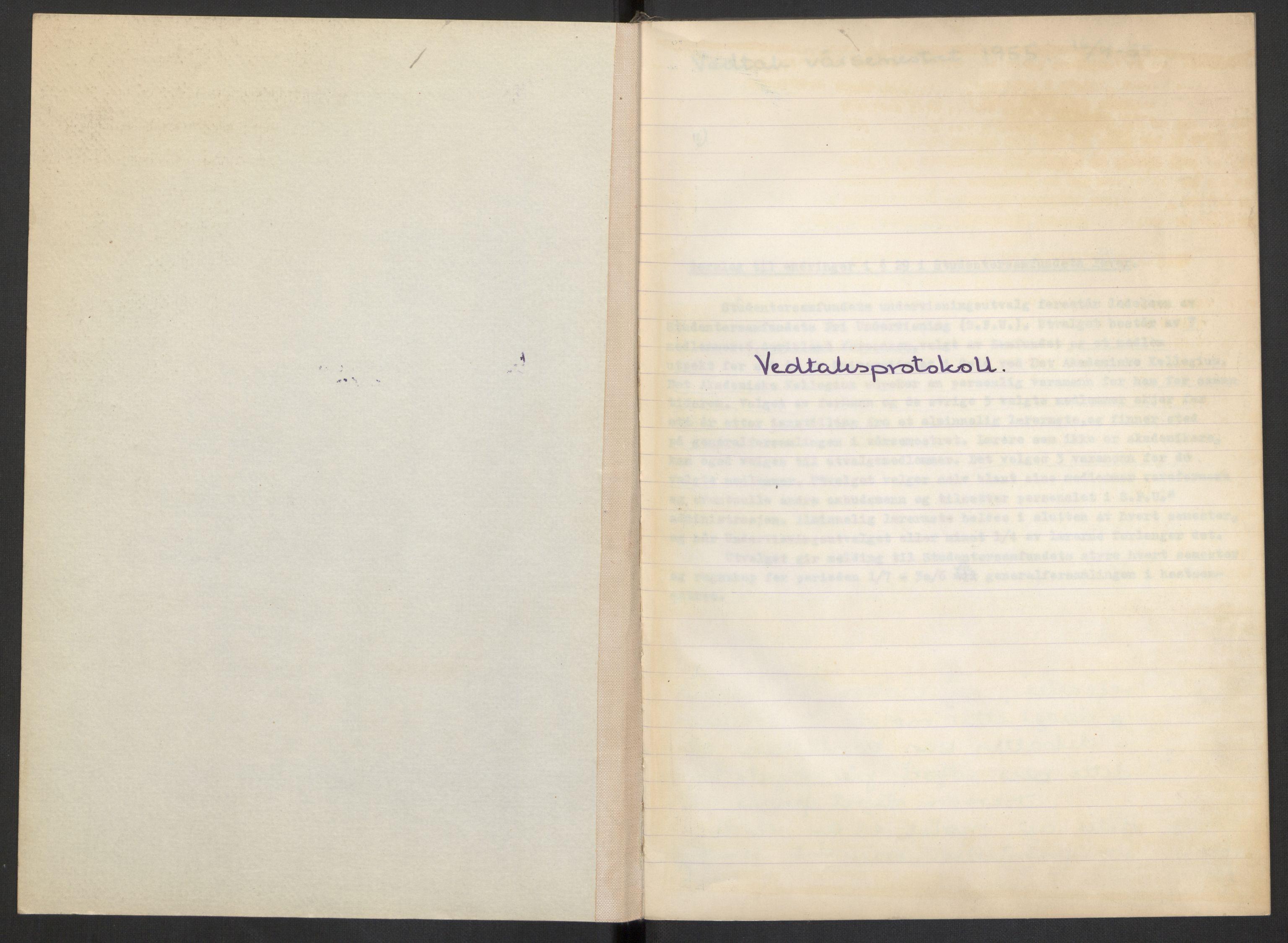 RA, Det Norske Studentersamfund, A/Aa/L0001: Generalforsamlingen, 1955