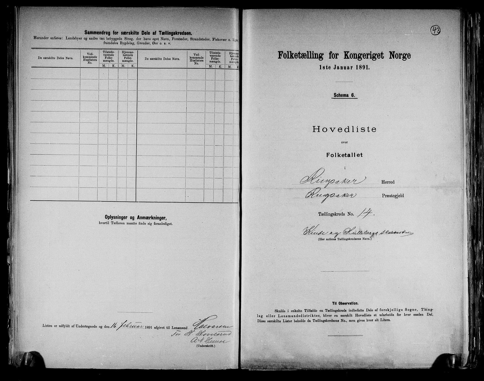 RA, Folketelling 1891 for 0412 Ringsaker herred, 1891, s. 43