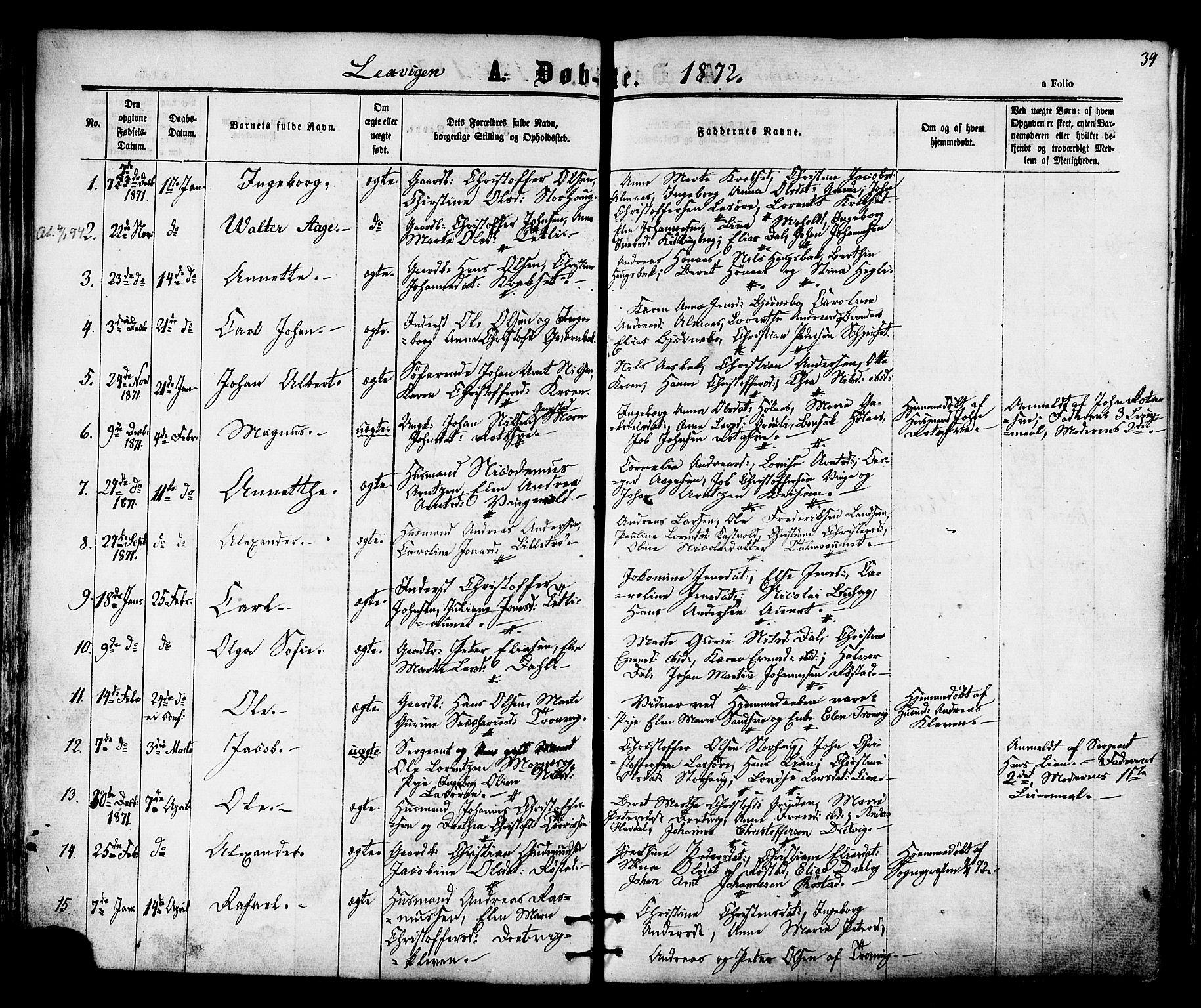 SAT, Ministerialprotokoller, klokkerbøker og fødselsregistre - Nord-Trøndelag, 701/L0009: Ministerialbok nr. 701A09 /1, 1864-1882, s. 39