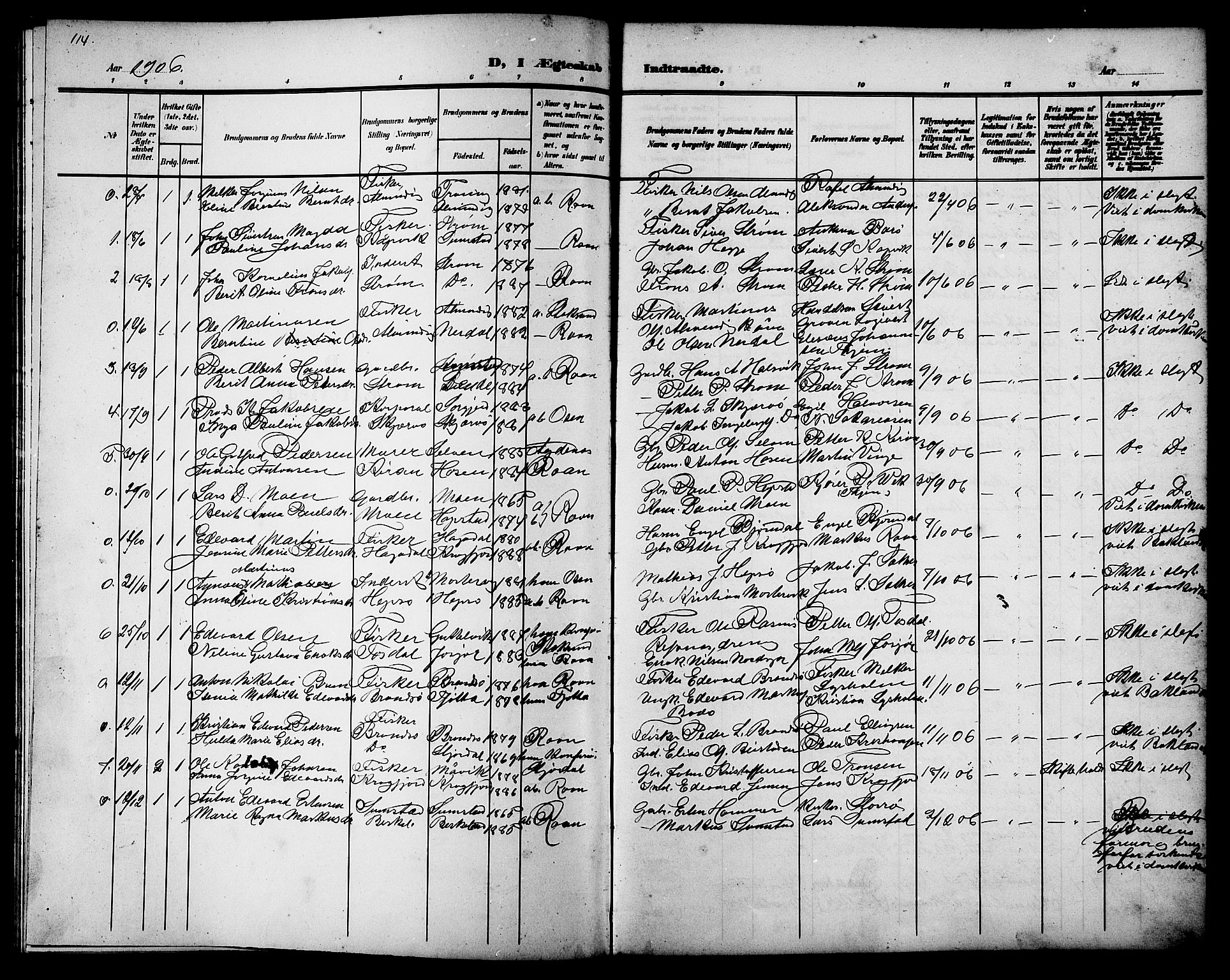 SAT, Ministerialprotokoller, klokkerbøker og fødselsregistre - Sør-Trøndelag, 657/L0717: Klokkerbok nr. 657C04, 1904-1923, s. 114