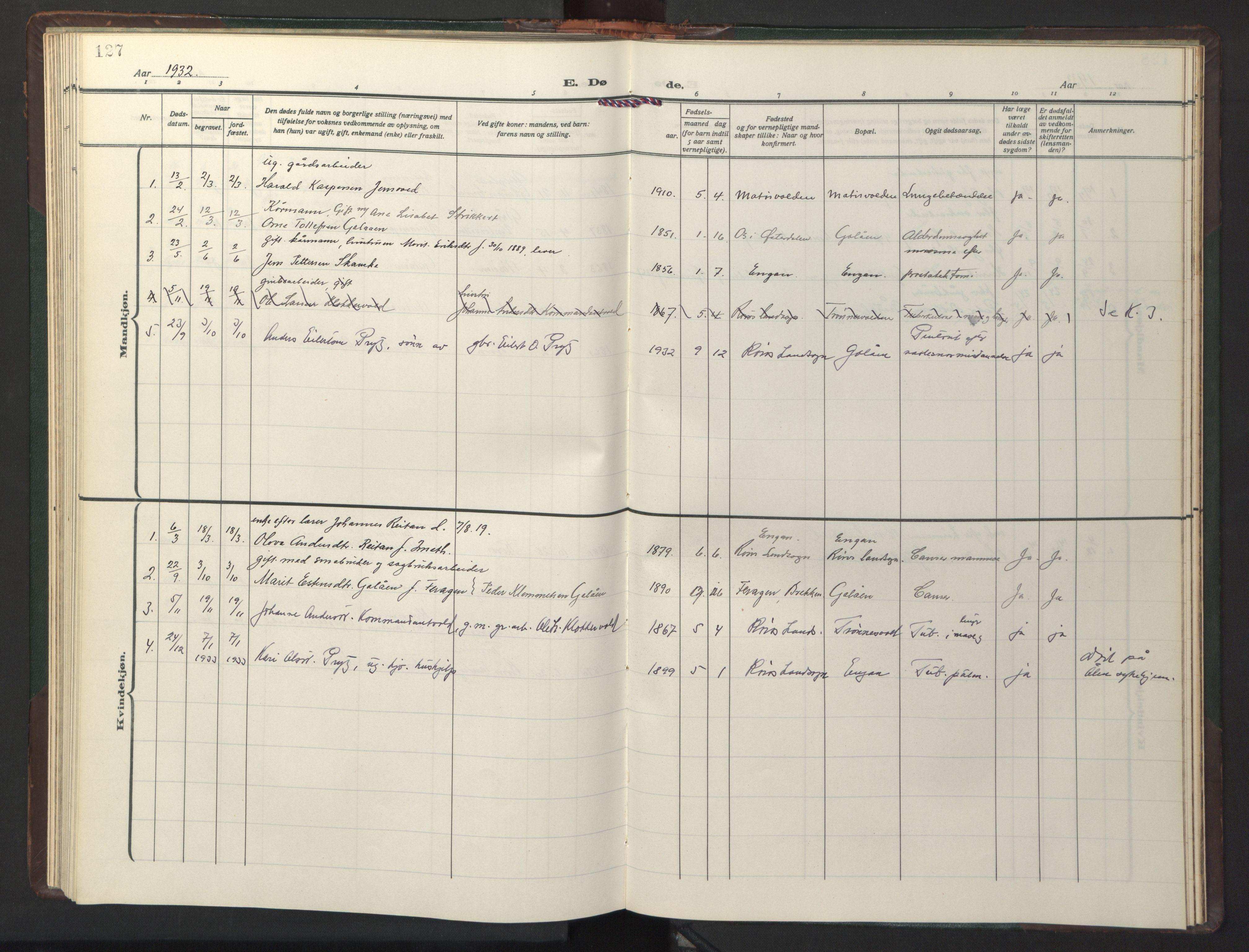 SAT, Ministerialprotokoller, klokkerbøker og fødselsregistre - Sør-Trøndelag, 681/L0944: Klokkerbok nr. 681C08, 1926-1954, s. 127