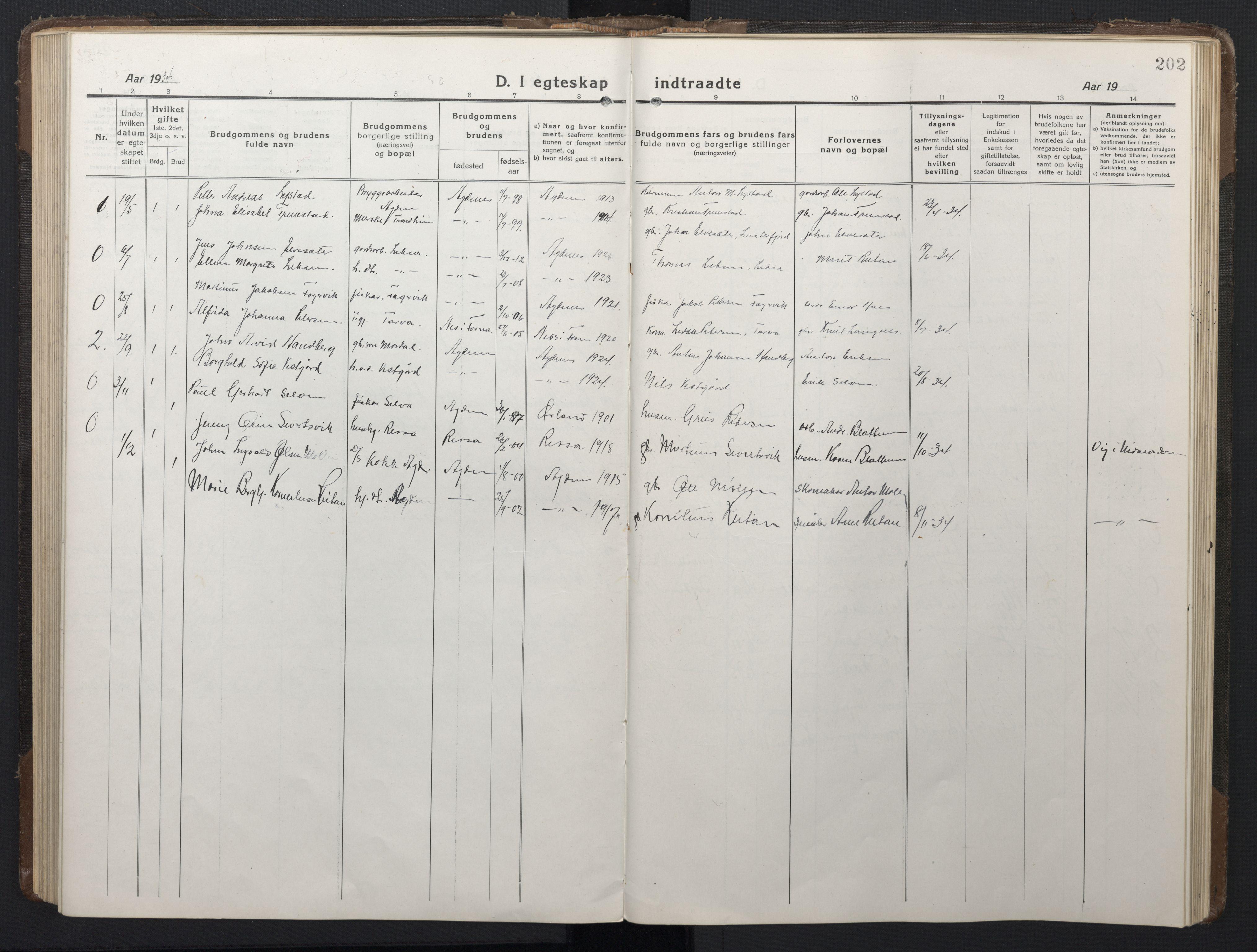 SAT, Ministerialprotokoller, klokkerbøker og fødselsregistre - Sør-Trøndelag, 662/L0758: Klokkerbok nr. 662C03, 1918-1948, s. 202