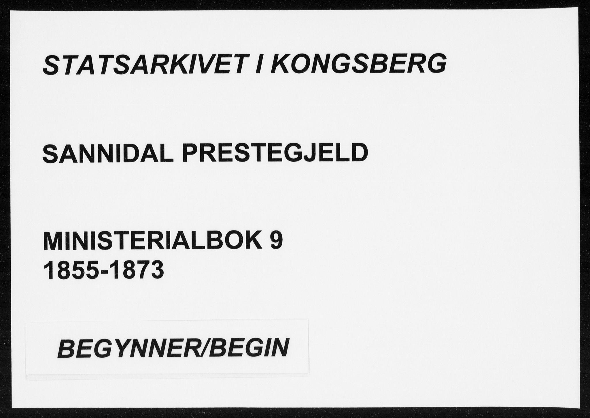 SAKO, Sannidal kirkebøker, F/Fa/L0009: Ministerialbok nr. 9, 1855-1873
