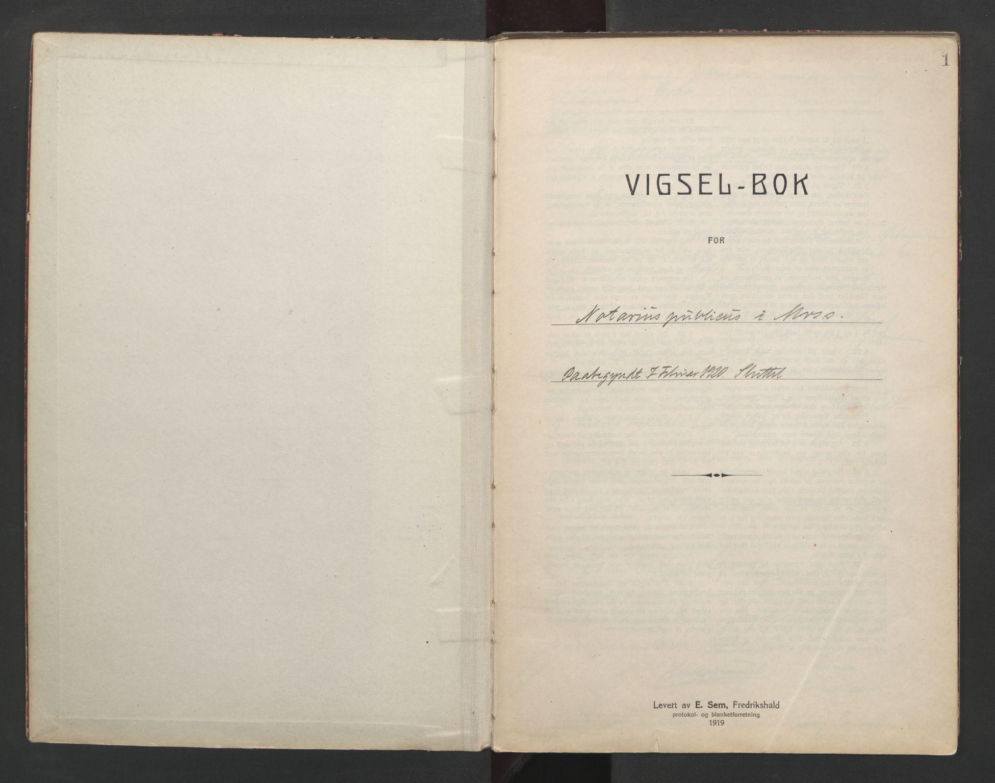 SAO, Moss byfogd, L/Lb/L0003: Vigselsbok, 1920-1932, s. 1