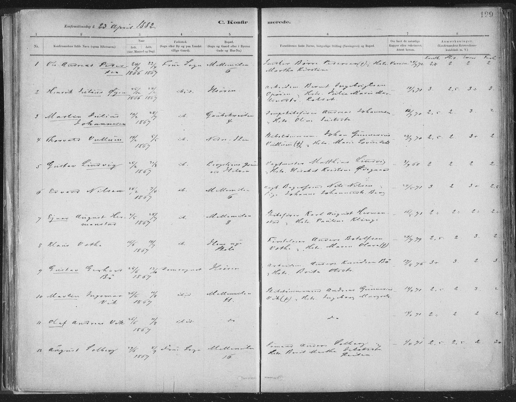 SAT, Ministerialprotokoller, klokkerbøker og fødselsregistre - Sør-Trøndelag, 603/L0162: Ministerialbok nr. 603A01, 1879-1895, s. 129