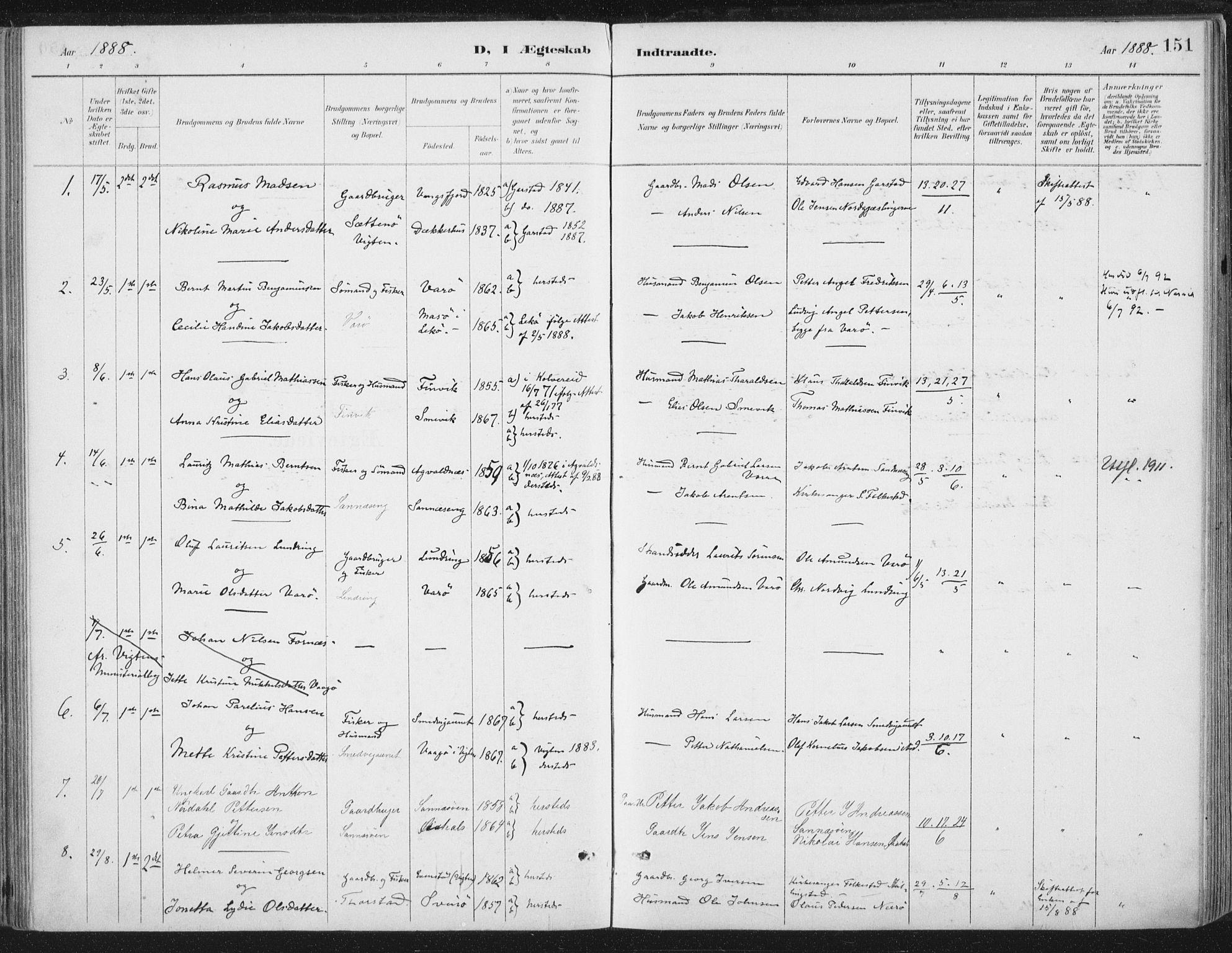 SAT, Ministerialprotokoller, klokkerbøker og fødselsregistre - Nord-Trøndelag, 784/L0673: Ministerialbok nr. 784A08, 1888-1899, s. 151