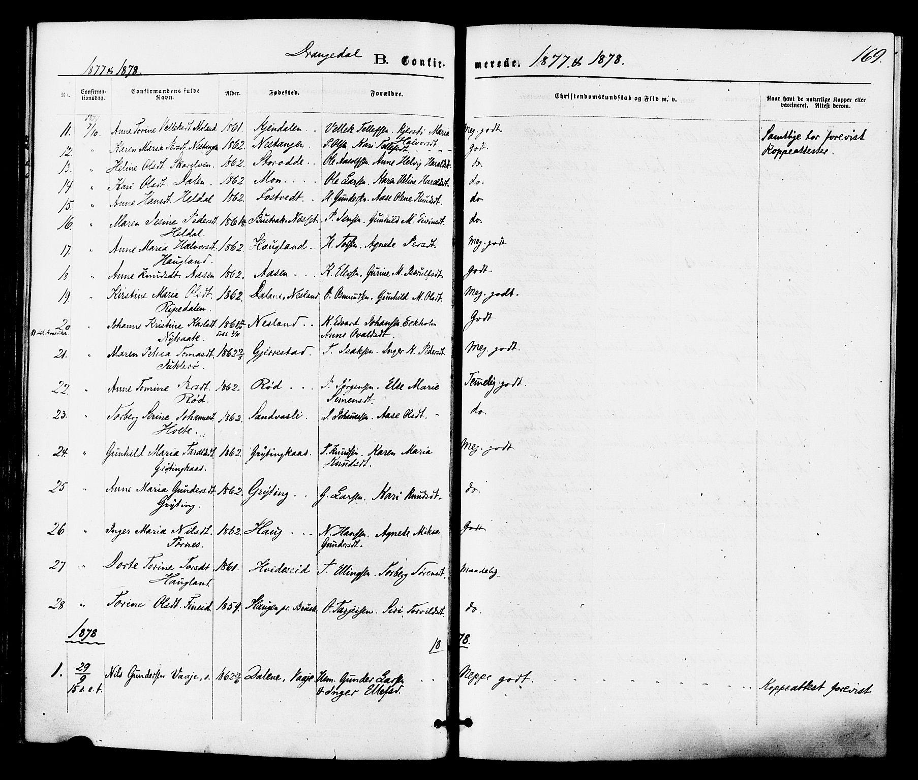 SAKO, Drangedal kirkebøker, F/Fa/L0009: Ministerialbok nr. 9 /1, 1872-1884, s. 169