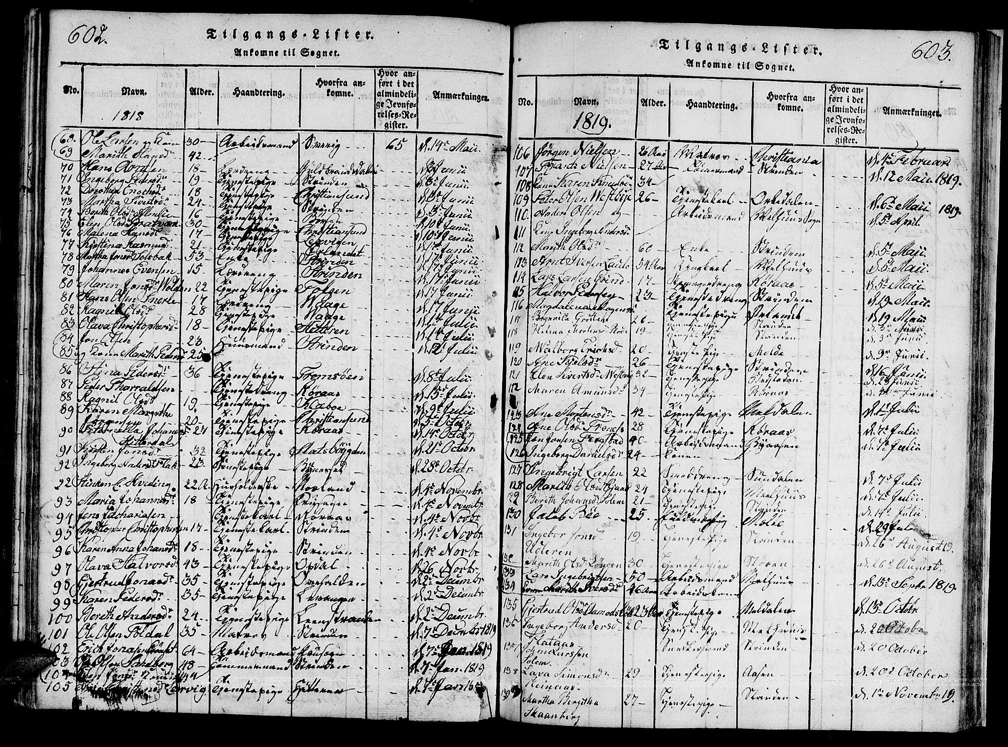 SAT, Ministerialprotokoller, klokkerbøker og fødselsregistre - Sør-Trøndelag, 601/L0043: Ministerialbok nr. 601A11, 1815-1821, s. 602-603