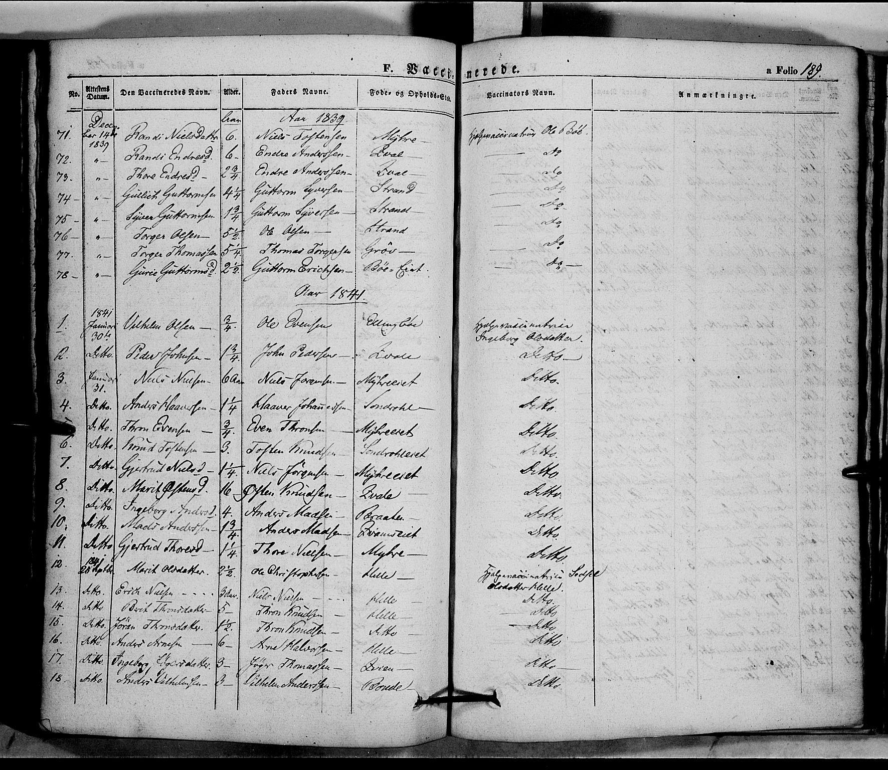 SAH, Vang prestekontor, Valdres, Ministerialbok nr. 5, 1831-1845, s. 189