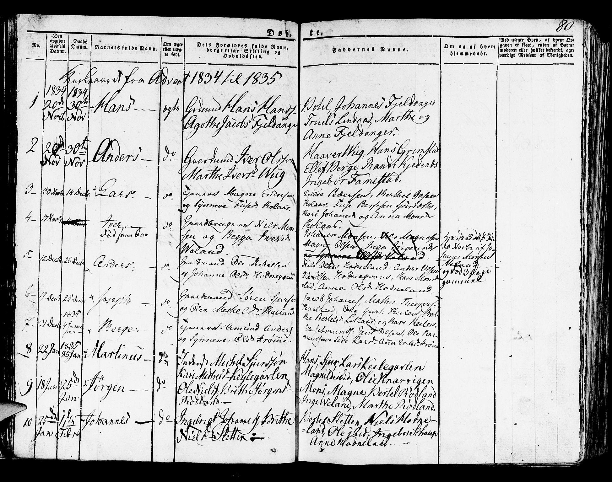 SAB, Lindås Sokneprestembete, H/Haa: Ministerialbok nr. A 8, 1823-1836, s. 80