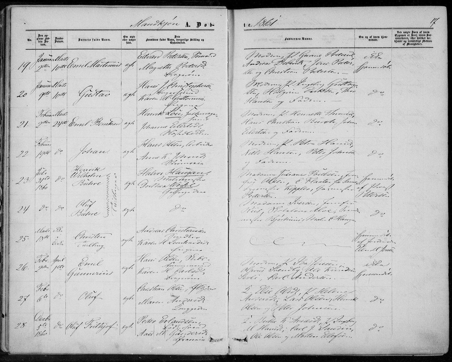 SAKO, Bragernes kirkebøker, F/Fb/L0003: Ministerialbok nr. II 3, 1860-1868, s. 17