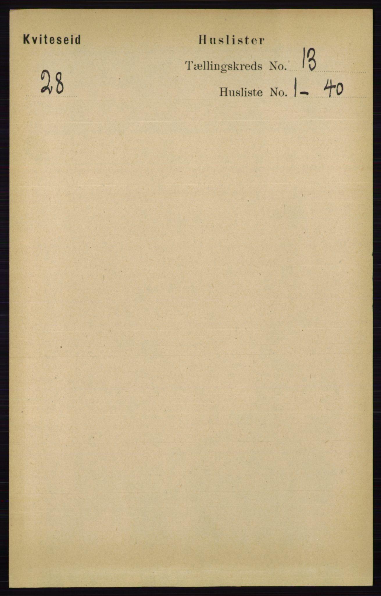 RA, Folketelling 1891 for 0829 Kviteseid herred, 1891, s. 3039