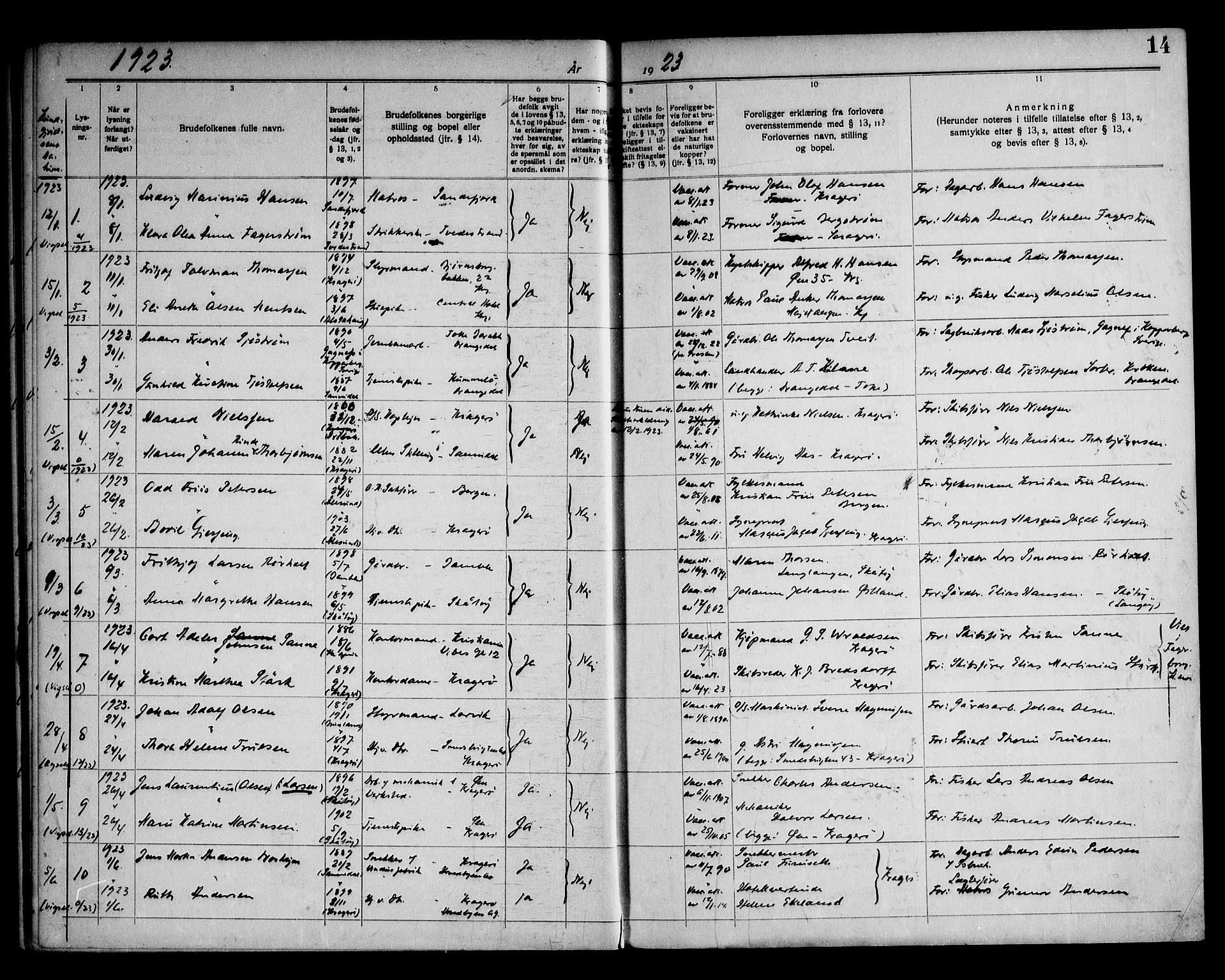 SAKO, Kragerø kirkebøker, H/Ha/L0002: Lysningsprotokoll nr. I 2, 1919-1953, s. 14