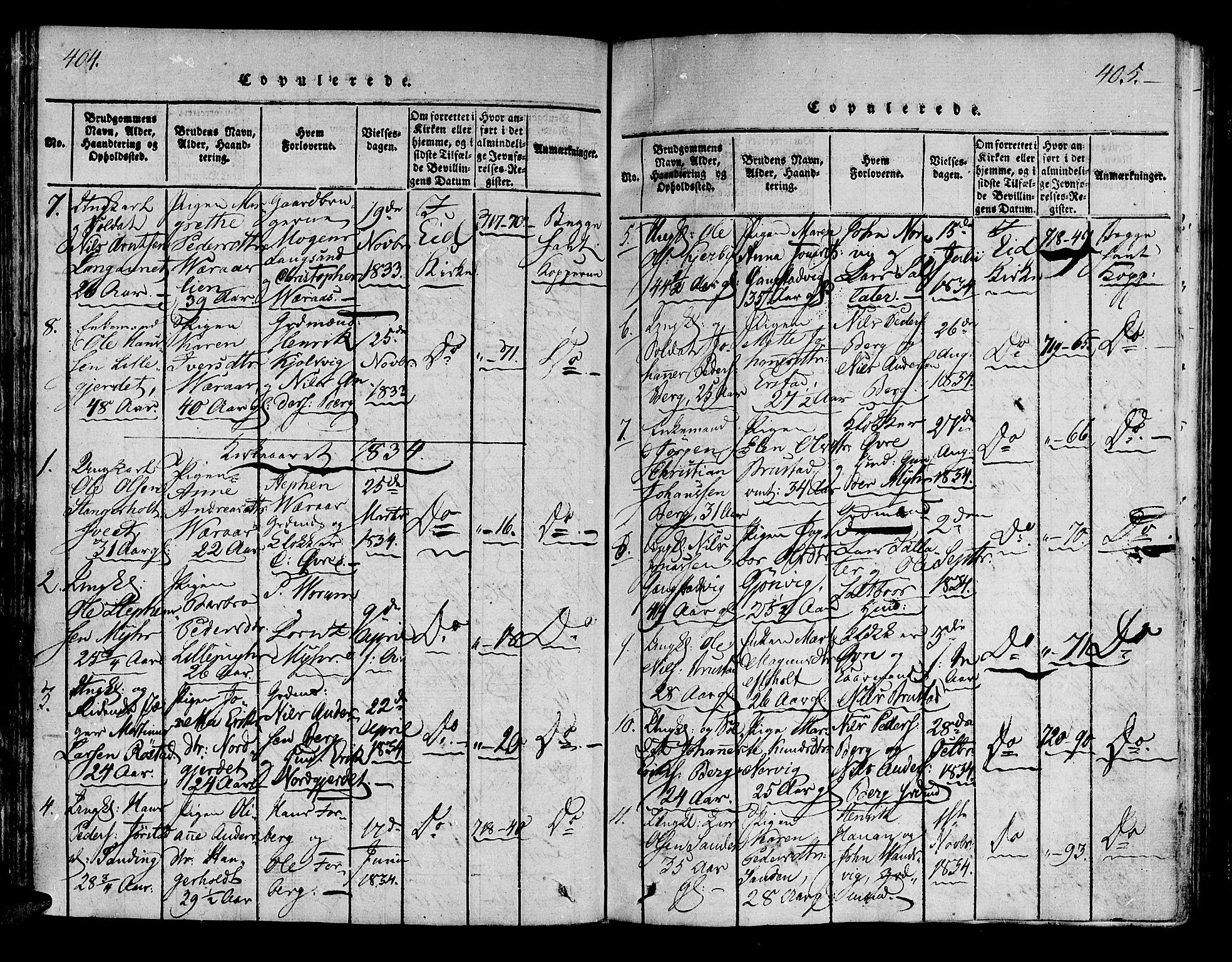 SAT, Ministerialprotokoller, klokkerbøker og fødselsregistre - Nord-Trøndelag, 722/L0217: Ministerialbok nr. 722A04, 1817-1842, s. 404-405
