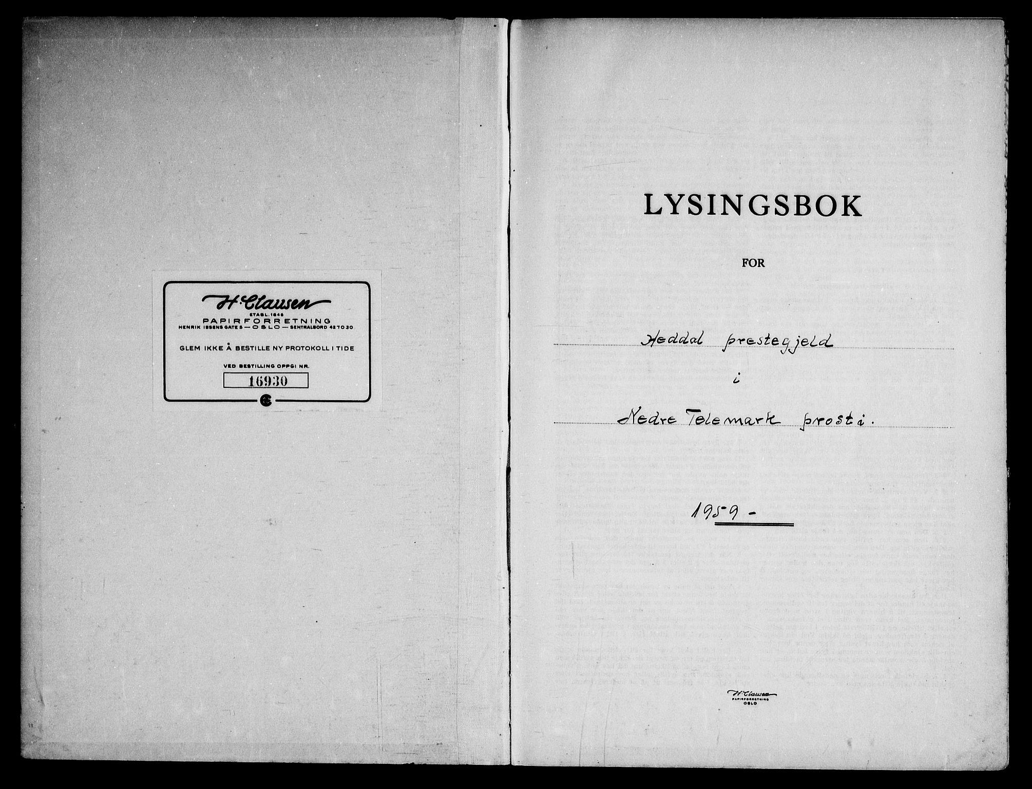 SAKO, Heddal kirkebøker, H/Ha/L0003: Lysningsprotokoll nr. 3, 1959-1969