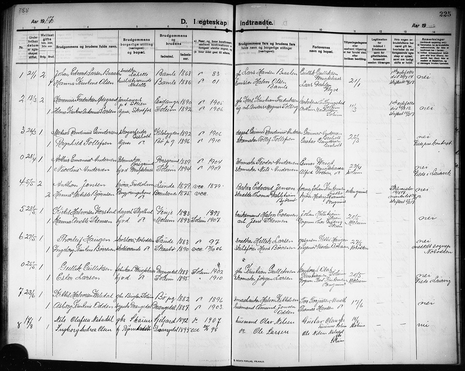 SAKO, Solum kirkebøker, G/Ga/L0009: Klokkerbok nr. I 9, 1909-1922, s. 225