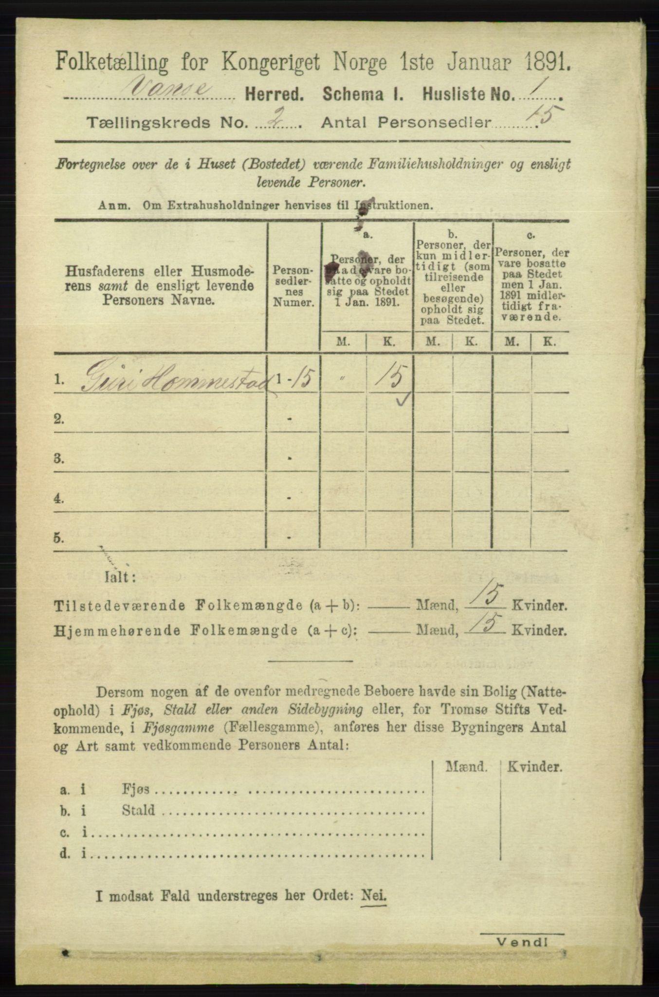 RA, Folketelling 1891 for 1041 Vanse herred, 1891, s. 465