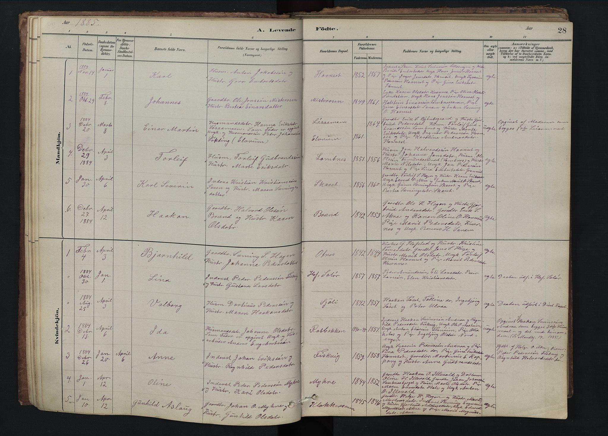 SAH, Rendalen prestekontor, H/Ha/Hab/L0009: Klokkerbok nr. 9, 1879-1902, s. 28