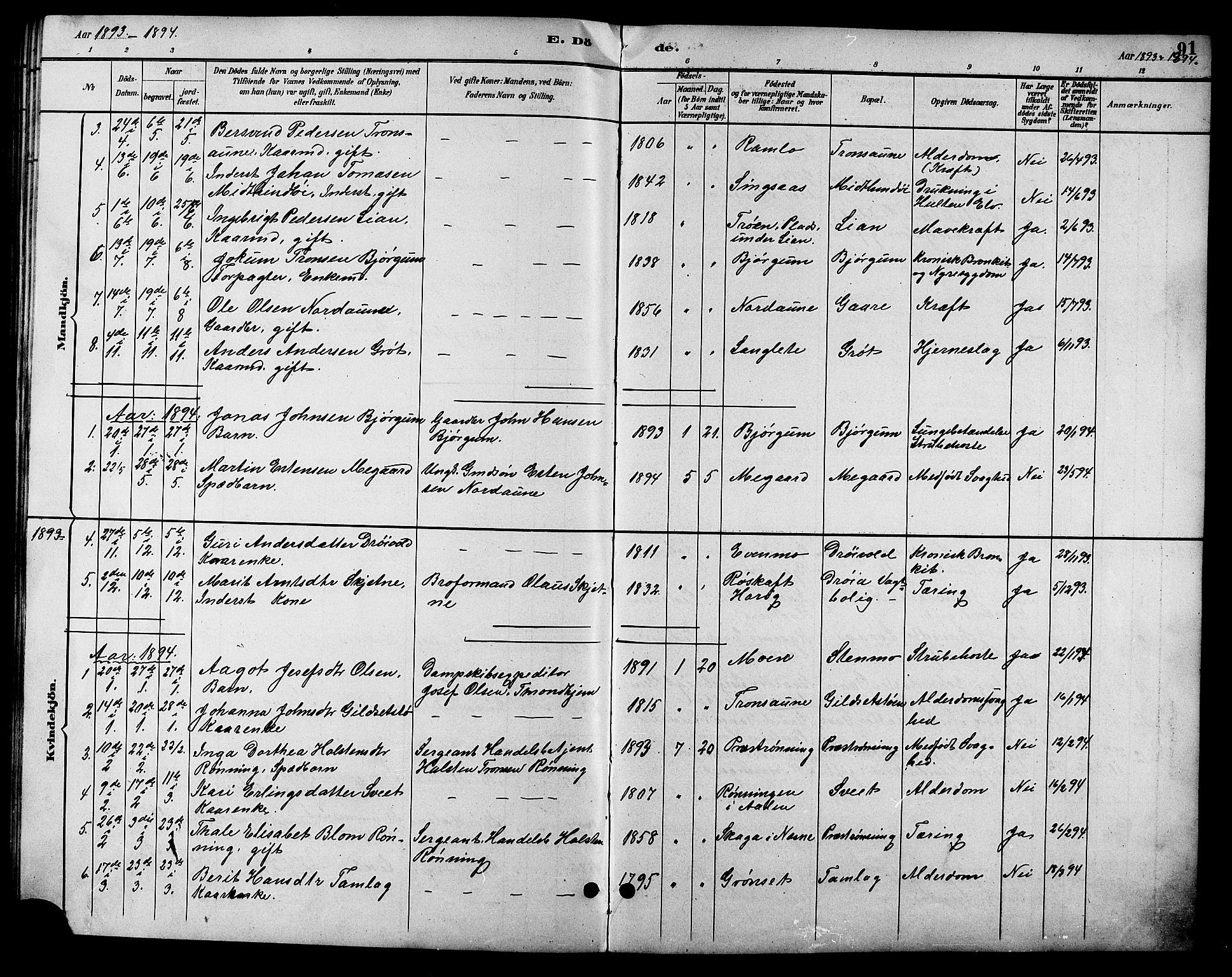SAT, Ministerialprotokoller, klokkerbøker og fødselsregistre - Sør-Trøndelag, 685/L0978: Klokkerbok nr. 685C03, 1891-1907, s. 91