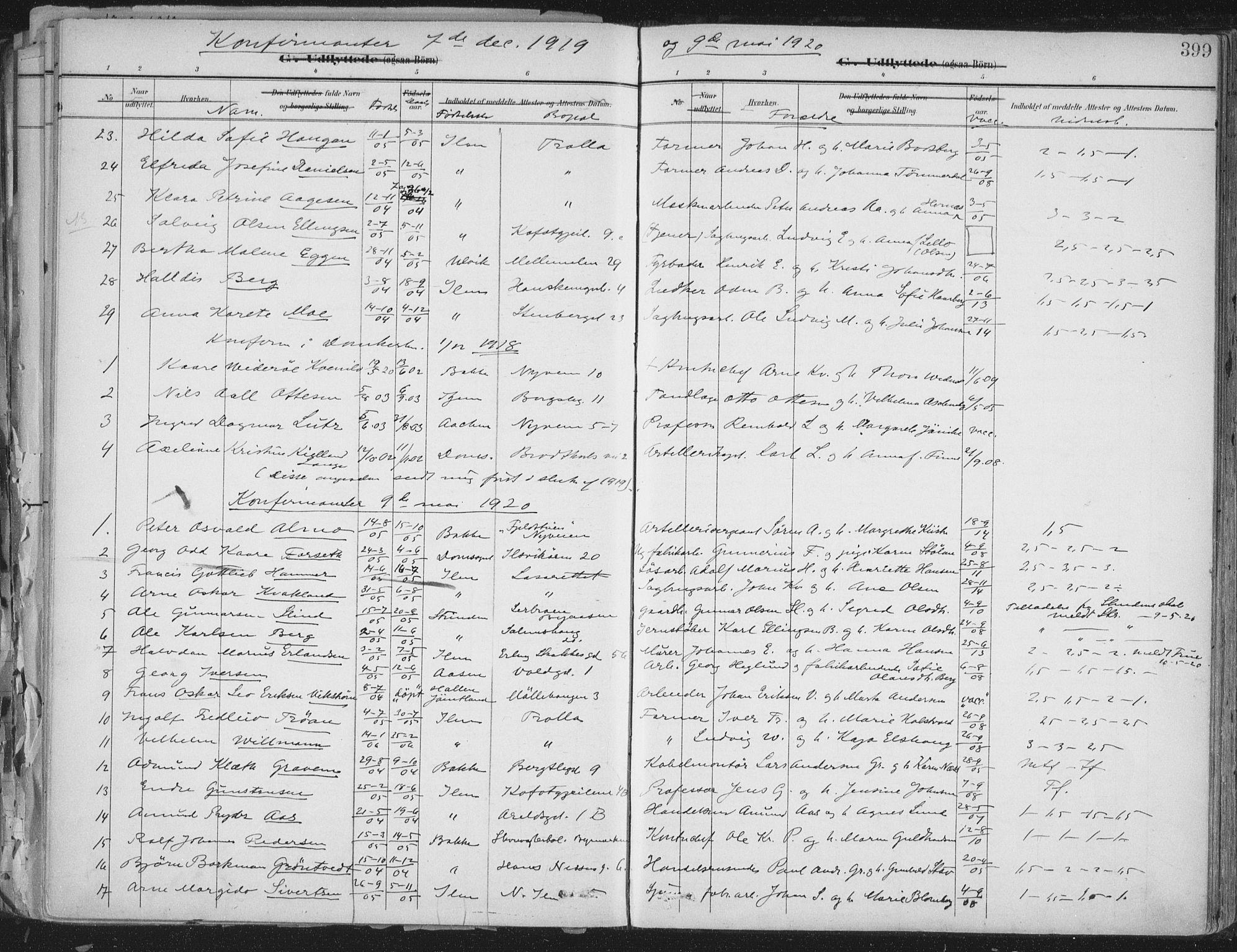 SAT, Ministerialprotokoller, klokkerbøker og fødselsregistre - Sør-Trøndelag, 603/L0167: Ministerialbok nr. 603A06, 1896-1932, s. 399